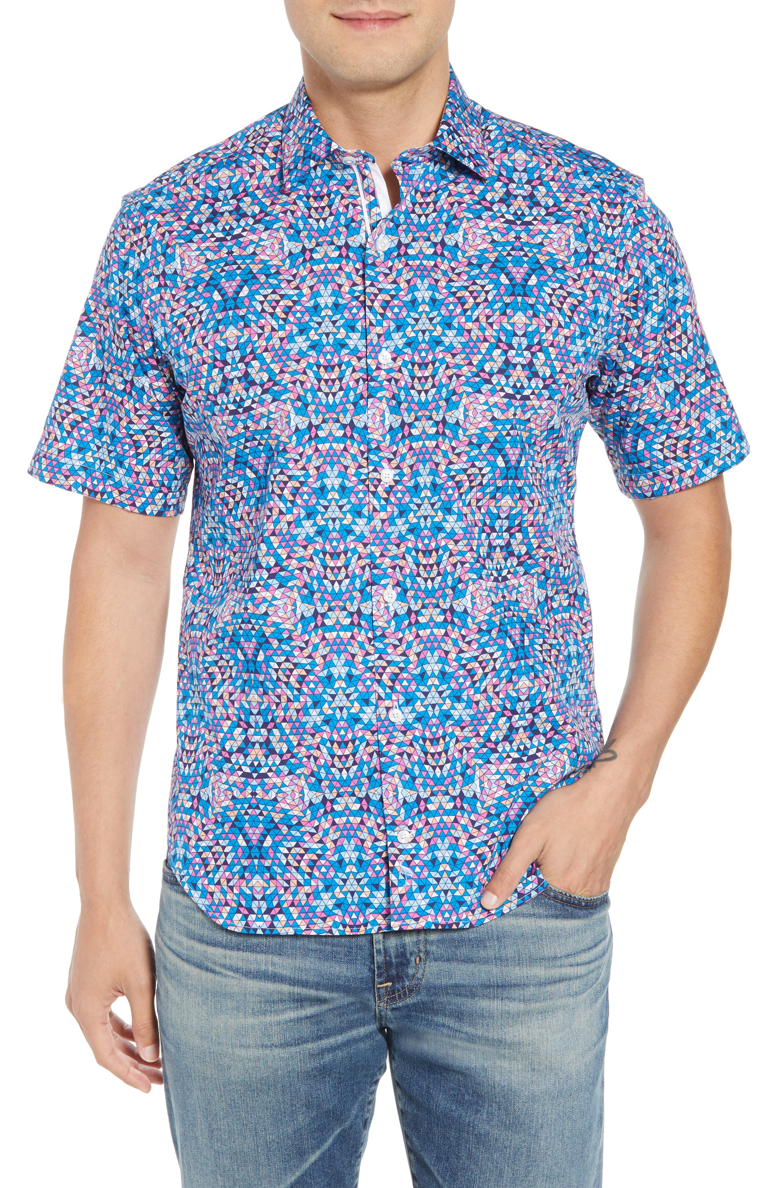 Alvin Regular Fit Print Sport Shirt,                         Main,                         color, Teal