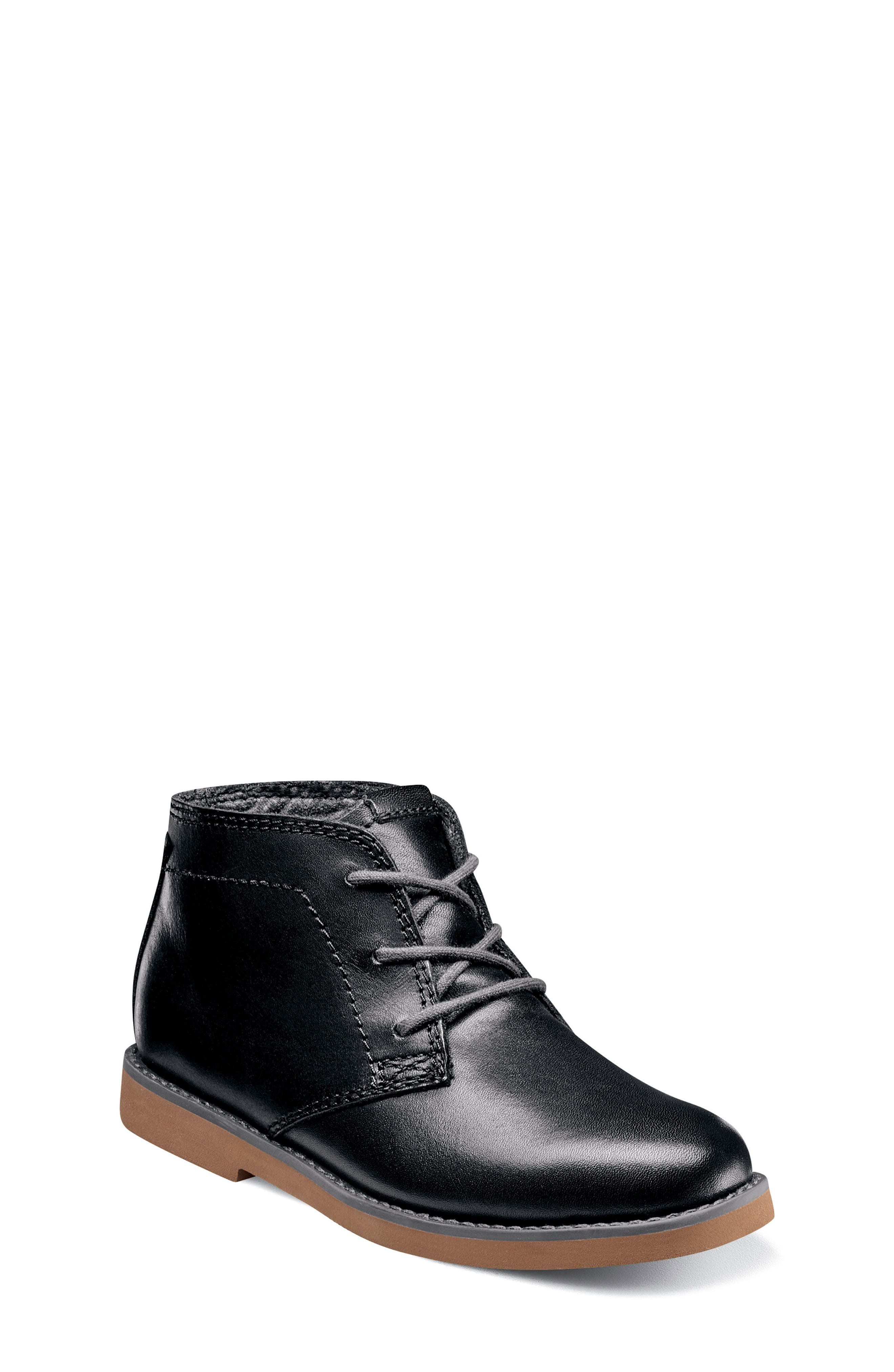 'Bucktown' Chukka Boot,                             Main thumbnail 1, color,                             Black Smooth With Brick Sole