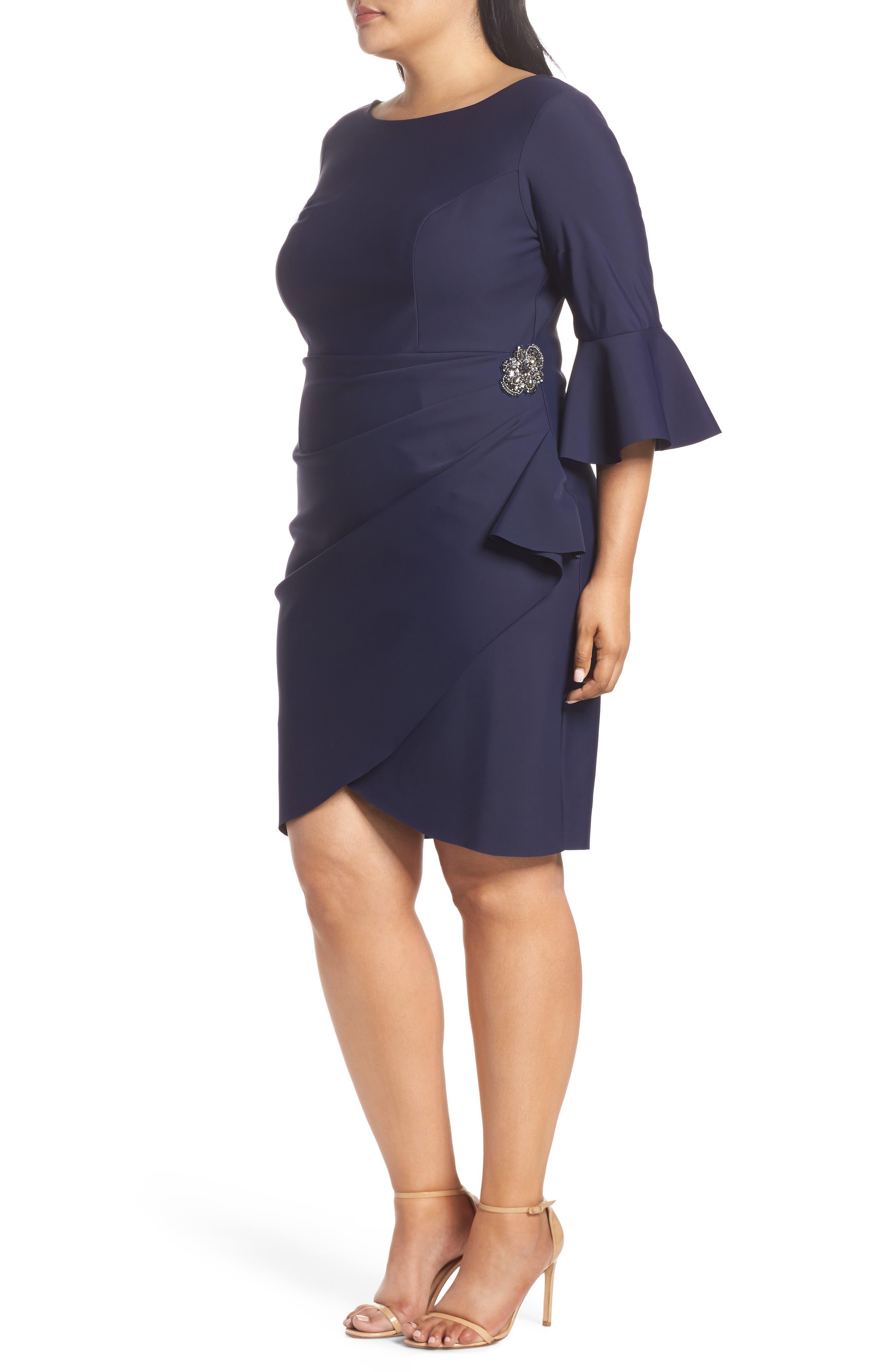 Bell Sleeve Sheath Dress,                             Alternate thumbnail 3, color,                             Navy