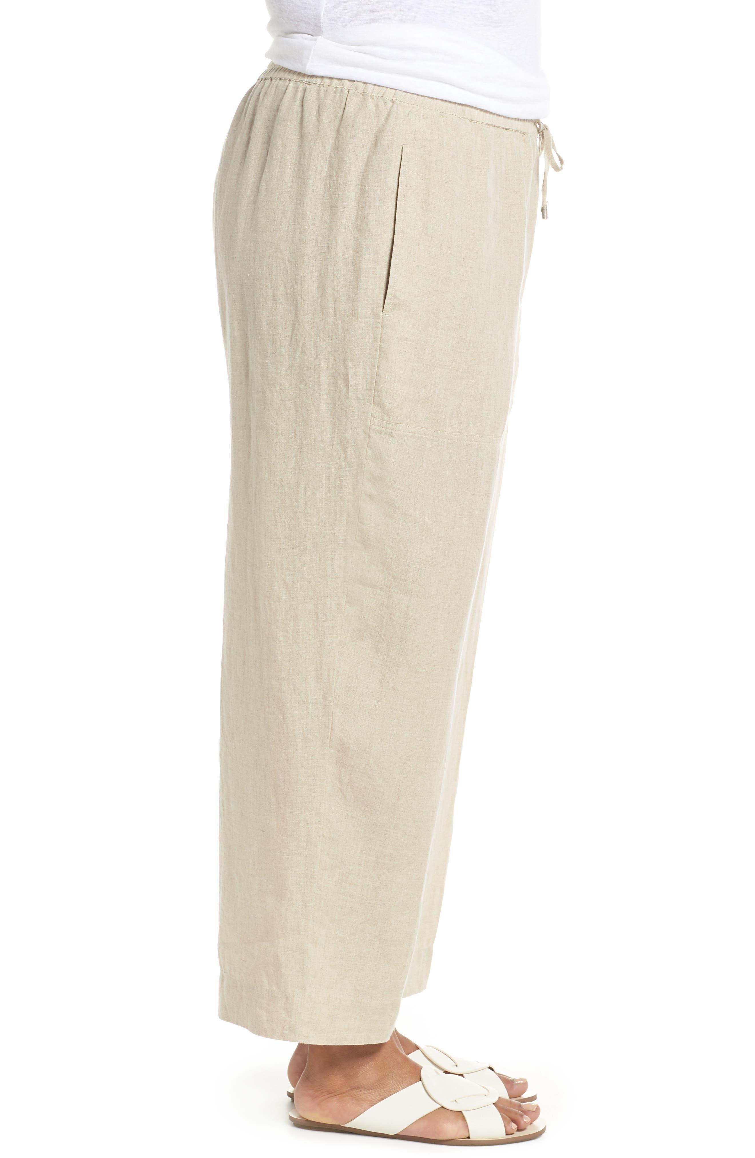 Organic Linen Ankle Pants,                             Alternate thumbnail 3, color,                             Undyed Natural