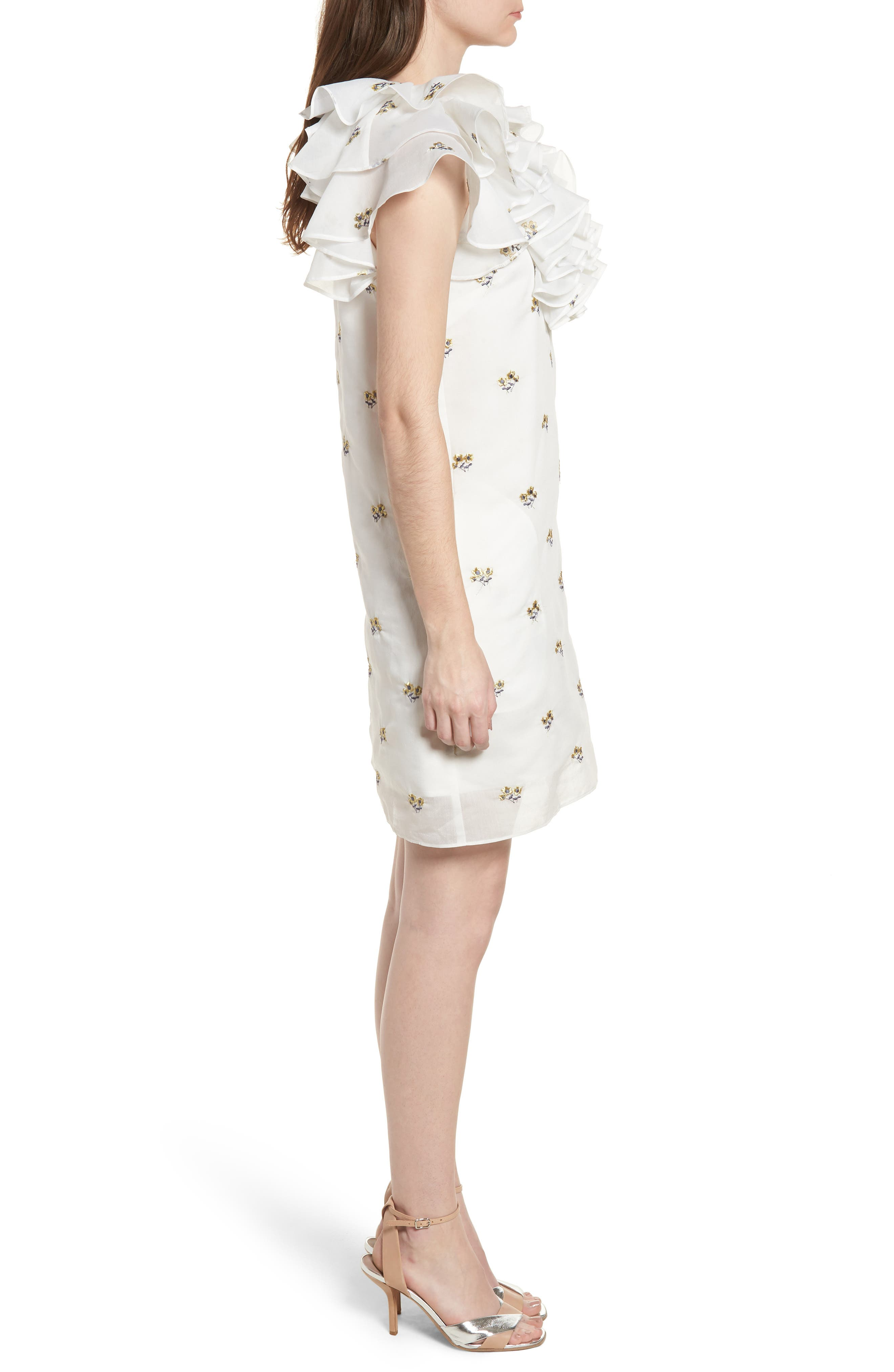Theseus Embroidered Ruffle Dress,                             Alternate thumbnail 3, color,                             White