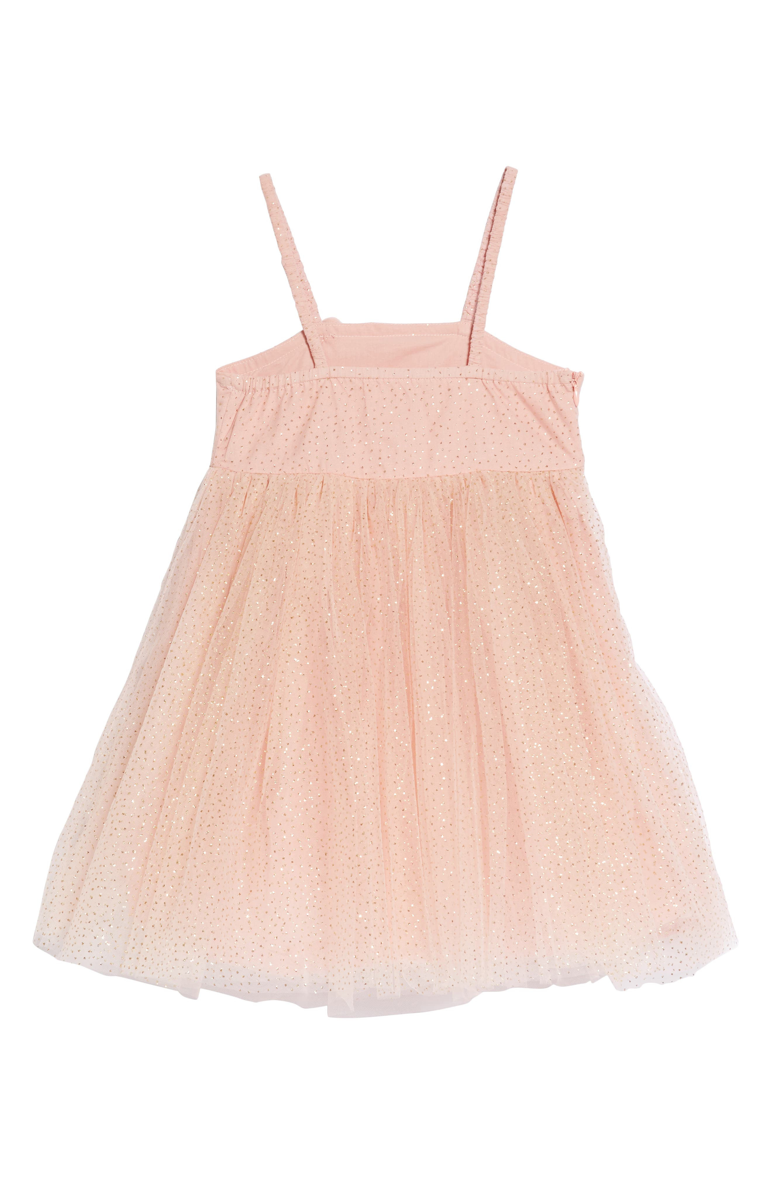 Glitter Dotted Tulle Empire Dress,                             Alternate thumbnail 2, color,                             Peach