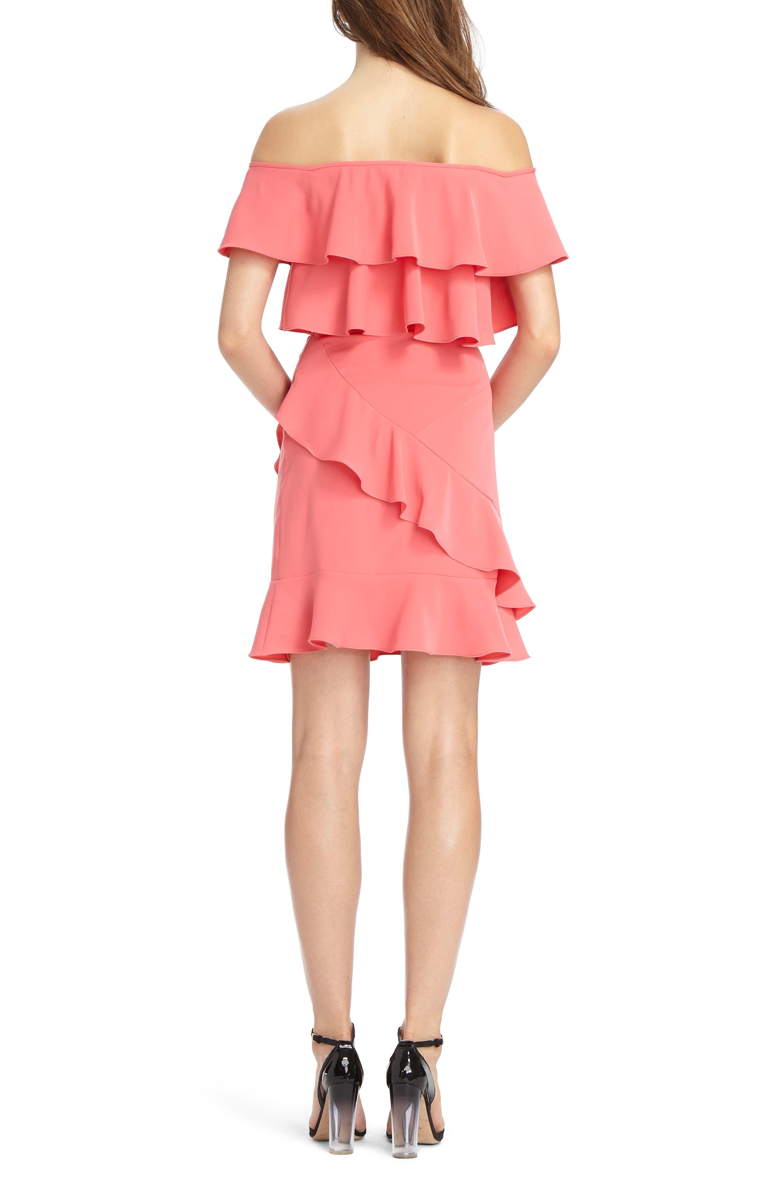 Off the Shoulder Ruffle Crepe Dress,                             Alternate thumbnail 2, color,                             Pink