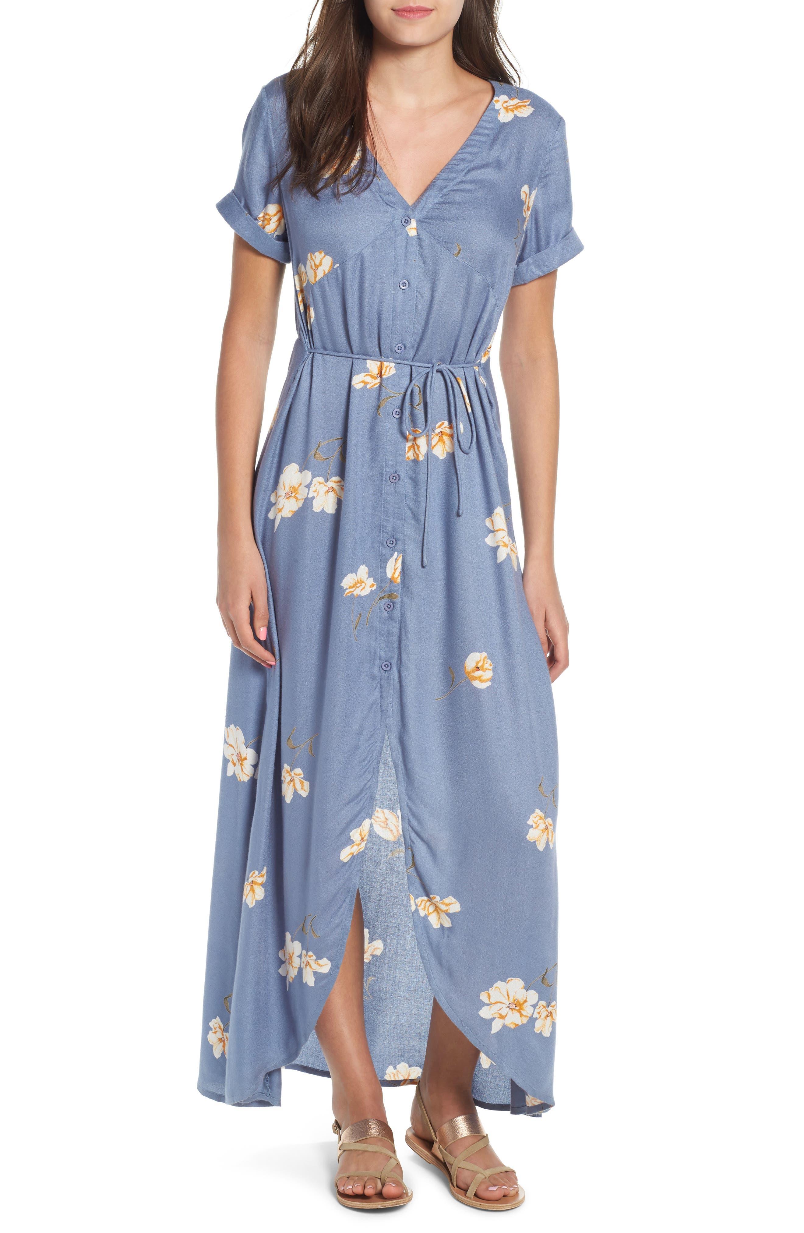 Good To Be You Floral Print Maxi Dress,                         Main,                         color, Wbu
