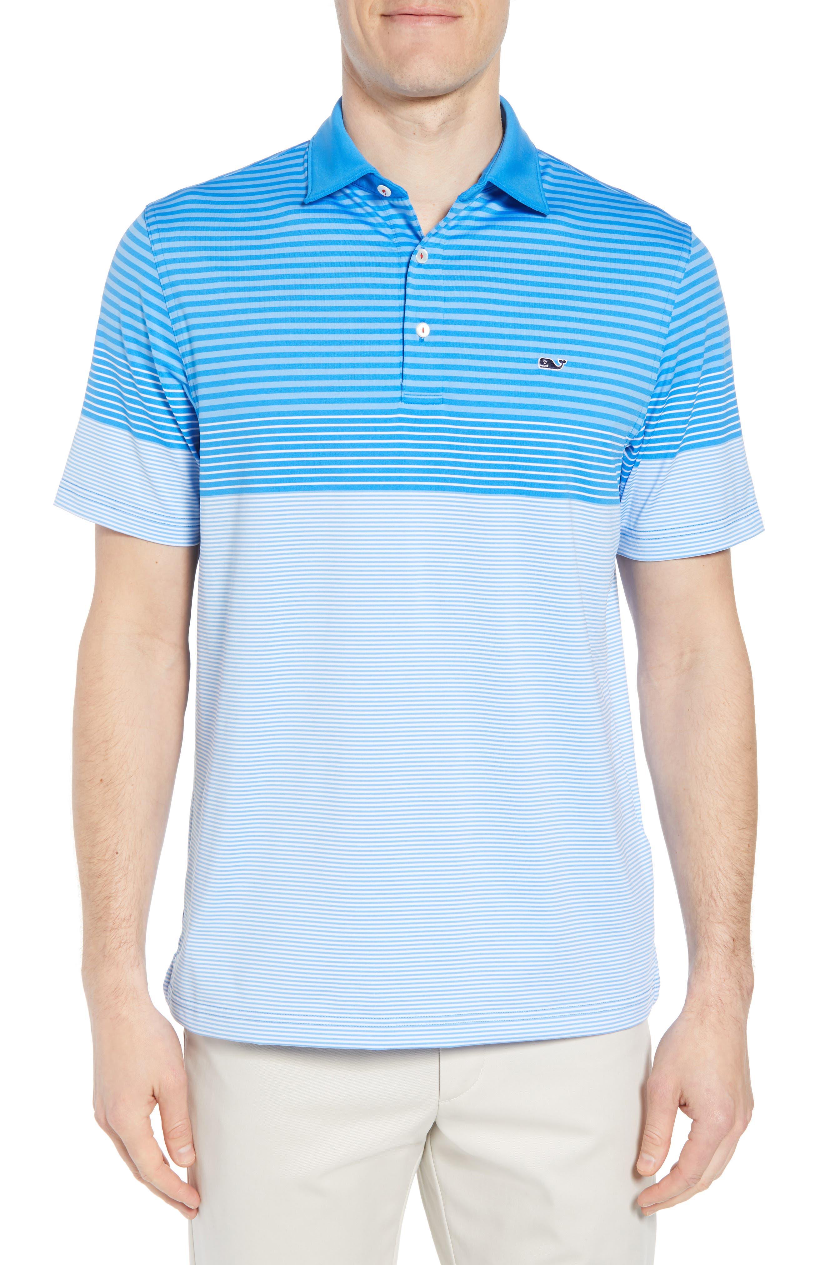 Regular Fit Engineer Stripe Sankaty Performance Polo,                         Main,                         color, Azure Blue