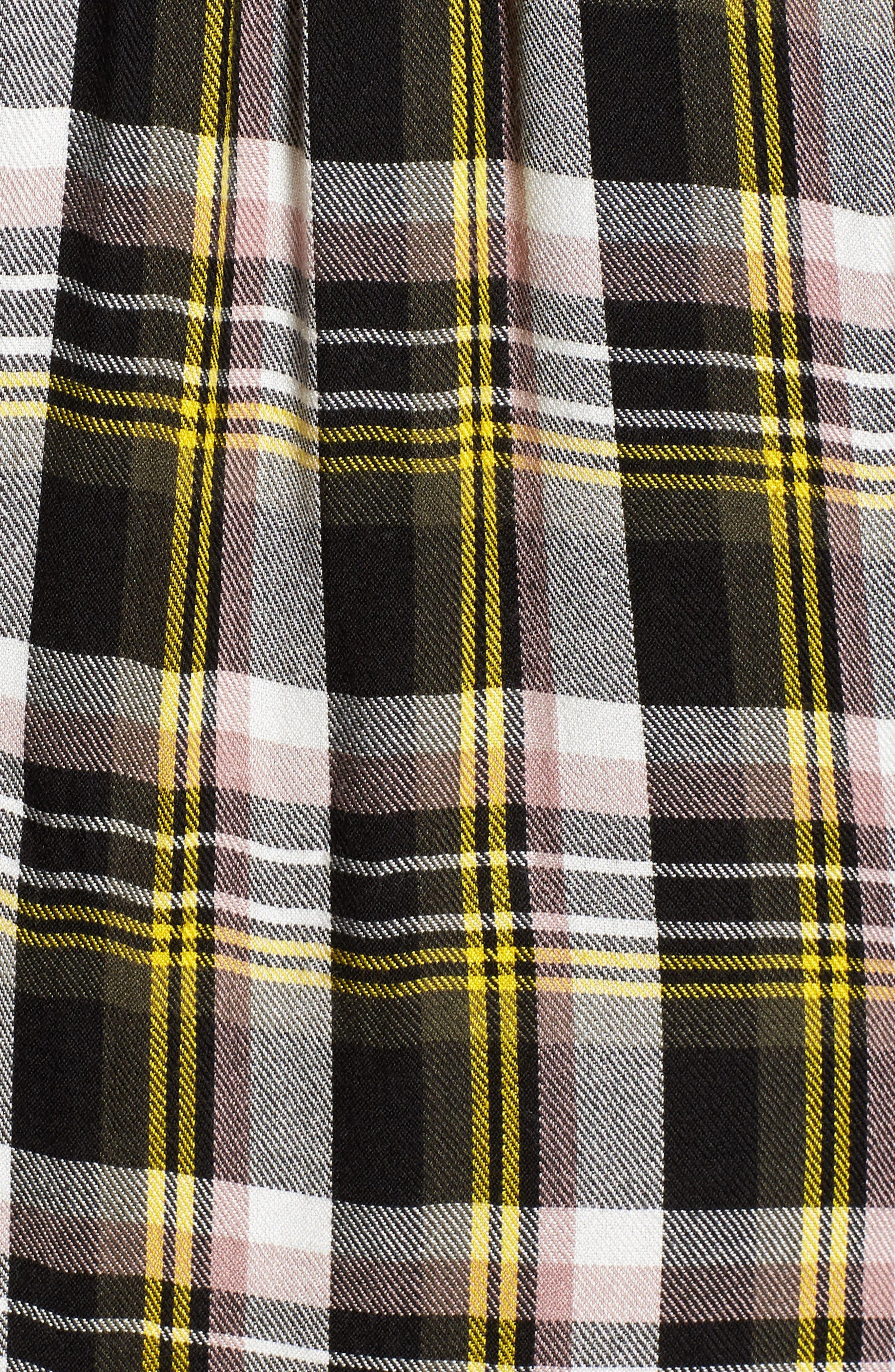 Twist Front Plaid Shirtdress,                             Alternate thumbnail 6, color,                             Black- Yellow Adele Plaid