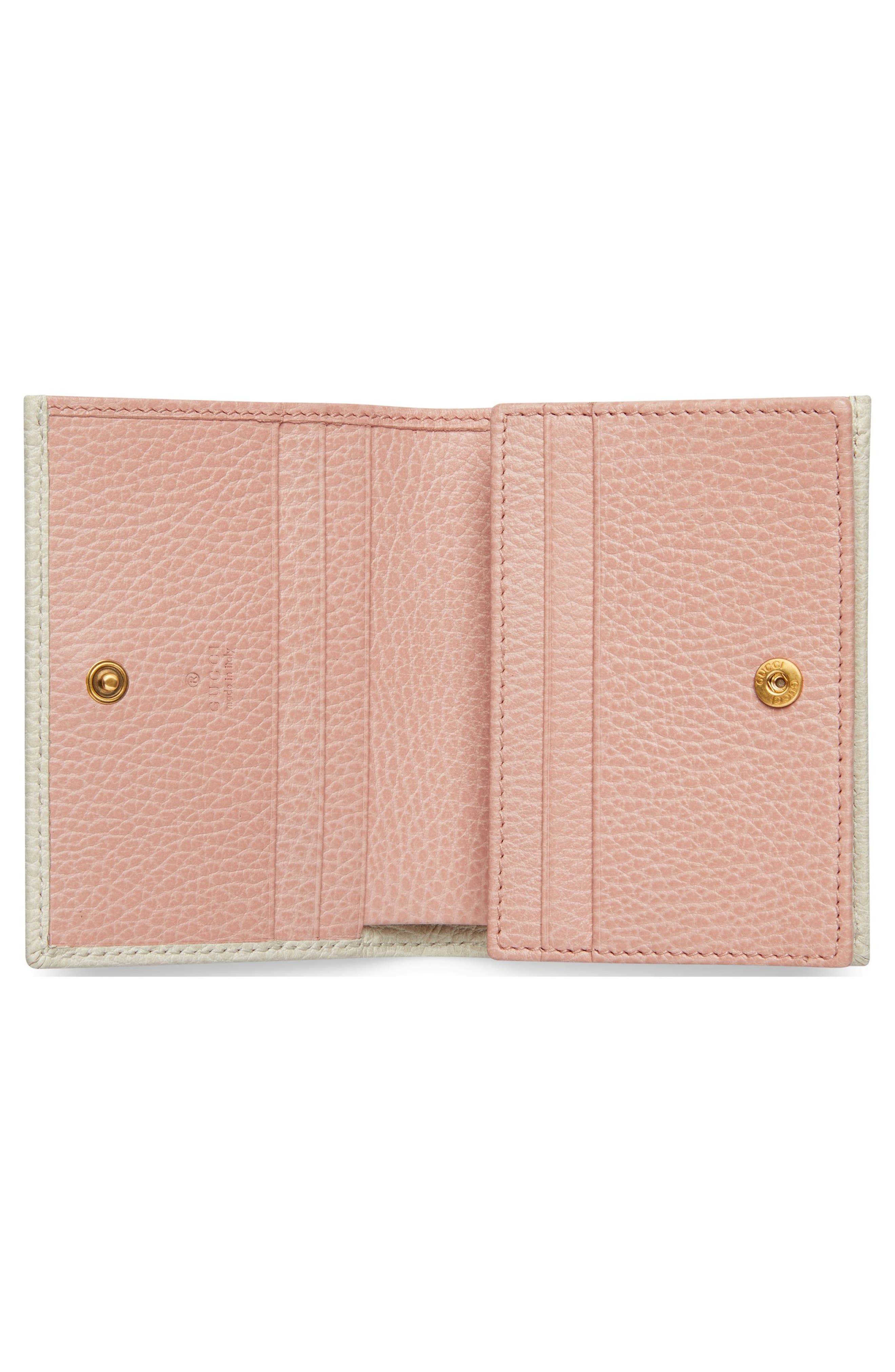 Fiocchino Leather Card Case,                             Alternate thumbnail 3, color,                             Mystic White/ Pink/ Crystal