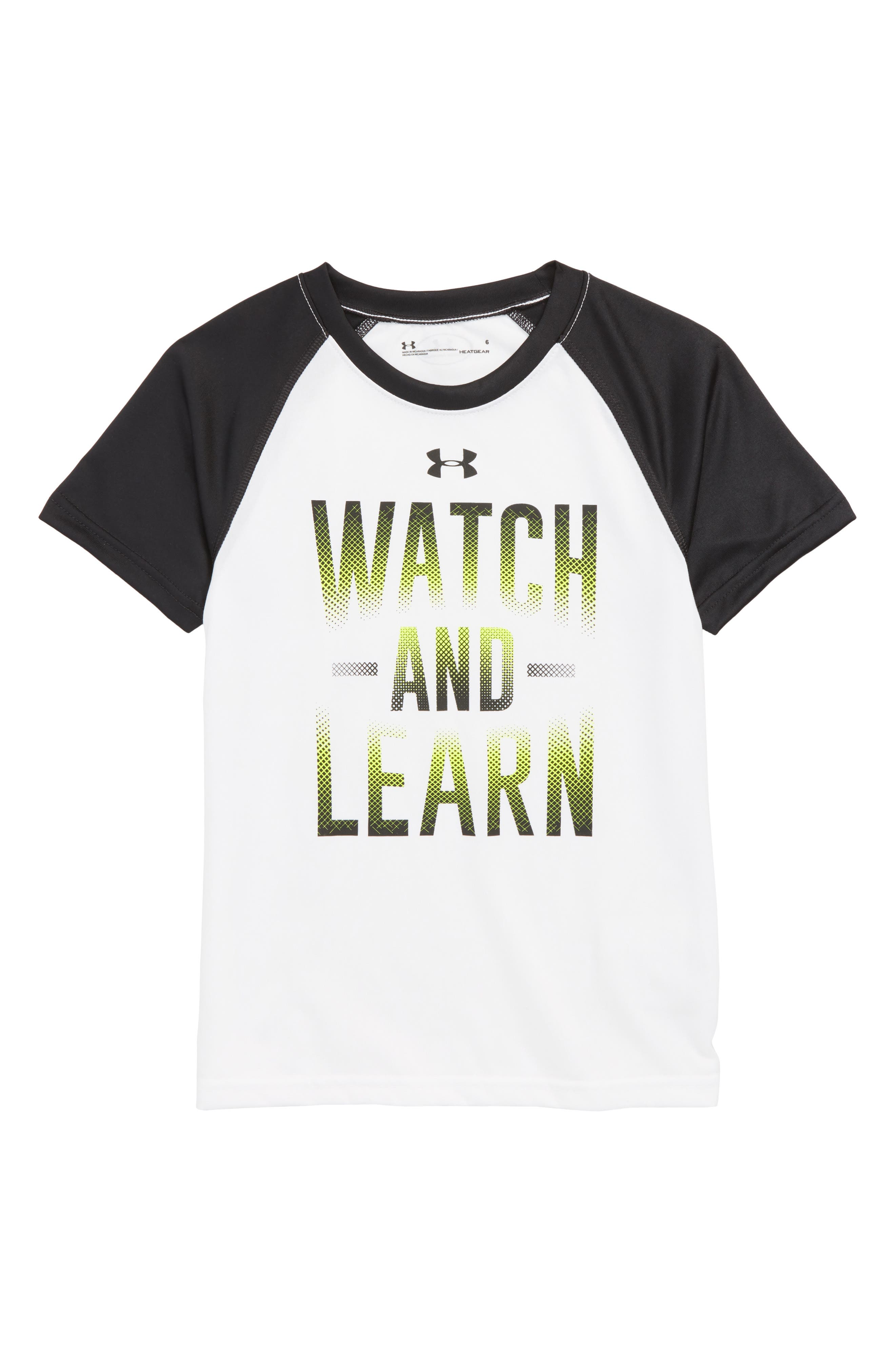 Watch & Learn HeatGear<sup>®</sup> T-Shirt,                         Main,                         color, White