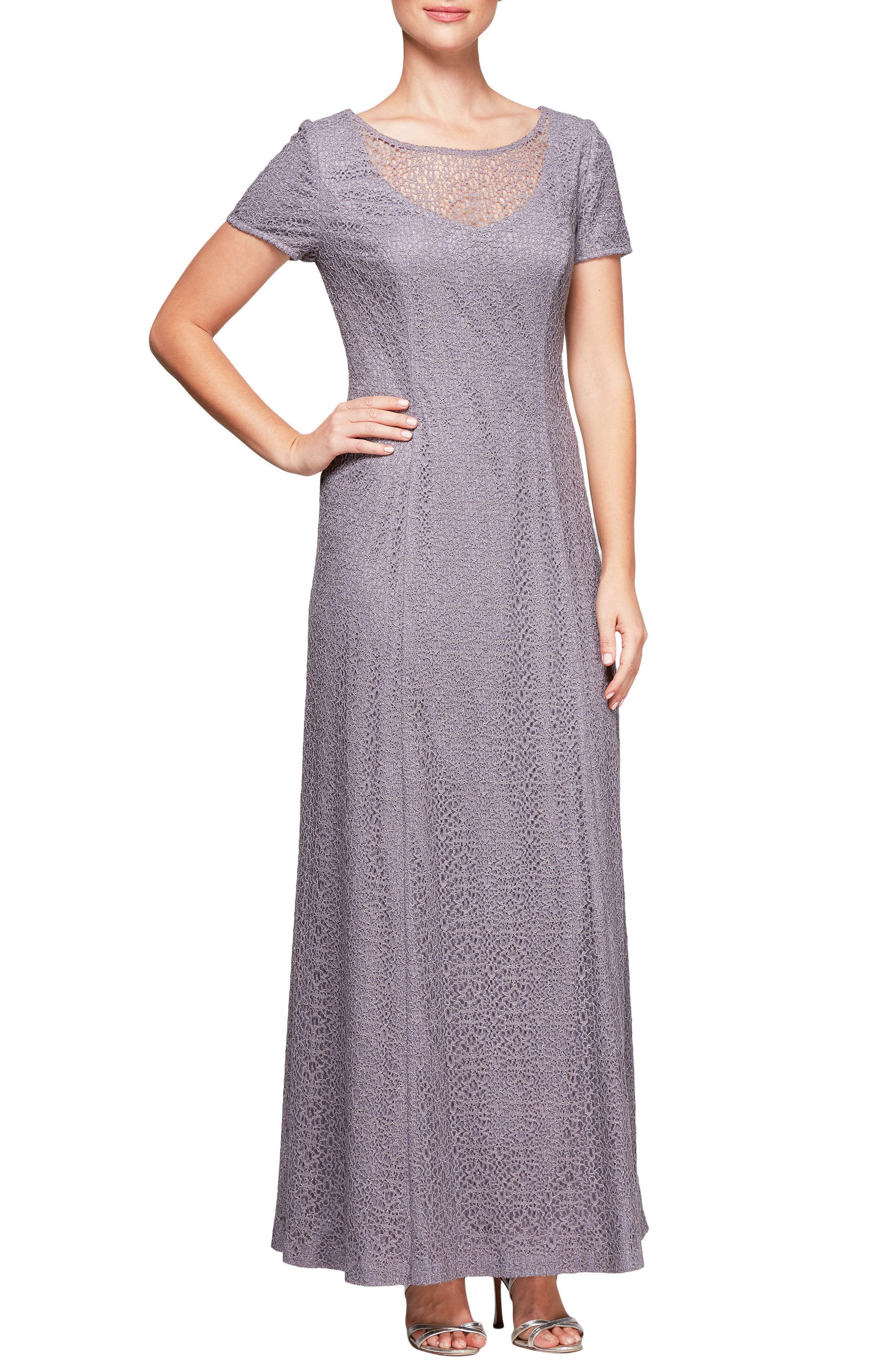 Alex Evenings Illusion Neck Lace Gown (Regular & Petite)