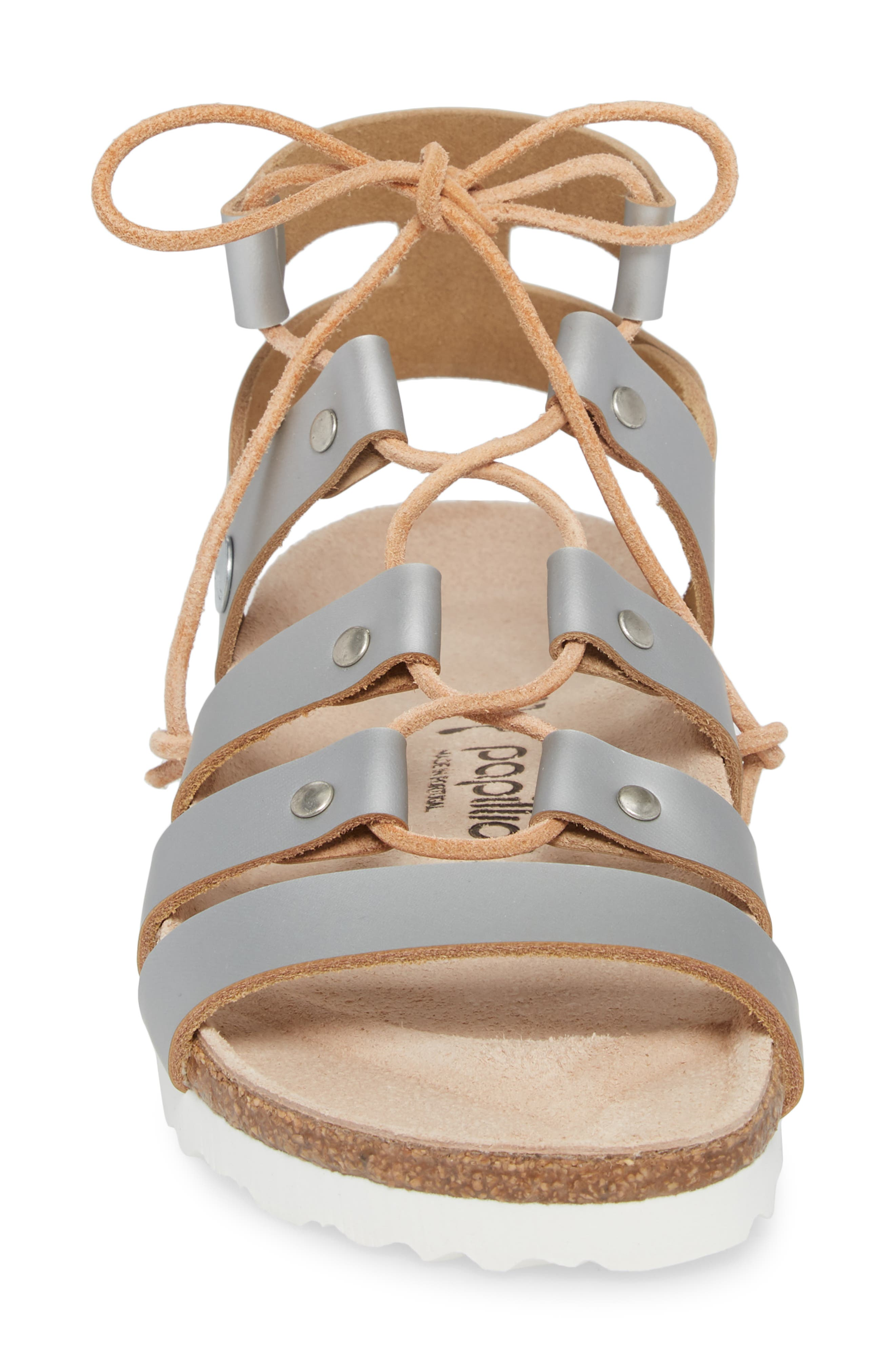 Papillio by Birkenstock Cleo Gladiator Sandal,                             Alternate thumbnail 4, color,                             Frosted Silver Leather