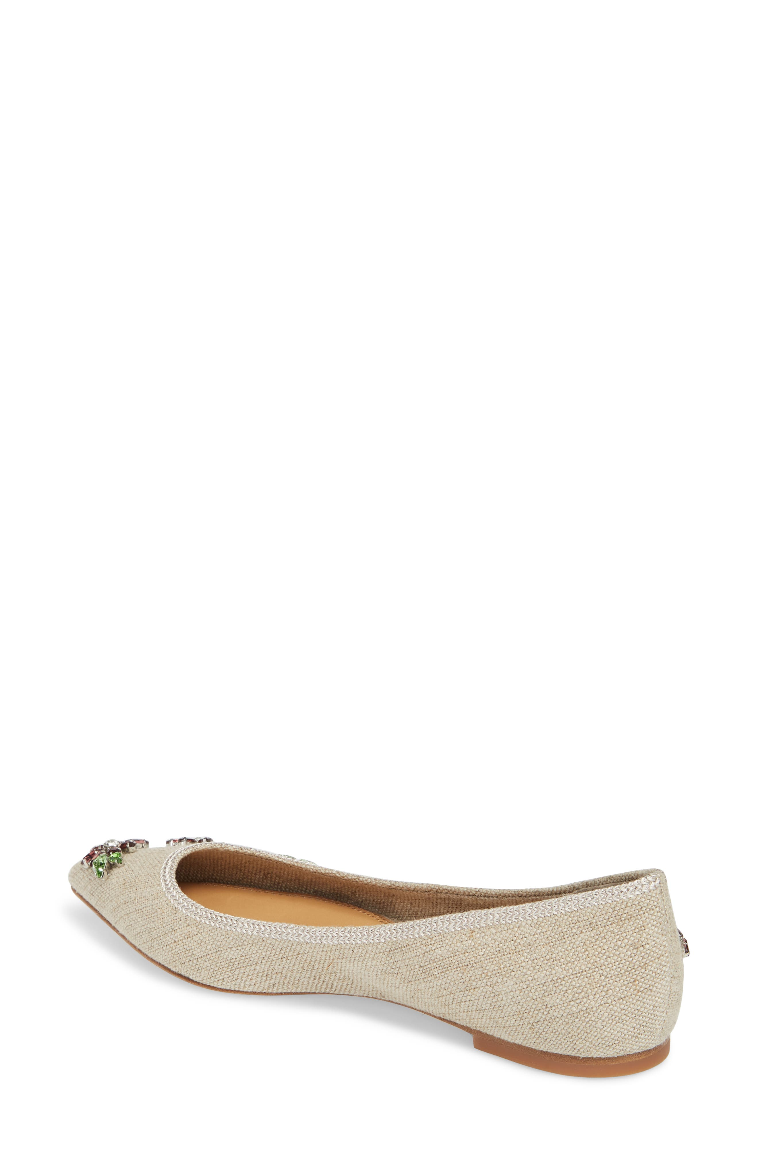 Meadow Embellished Pointy Toe Flat,                             Alternate thumbnail 2, color,                             Natural/ Multi Color