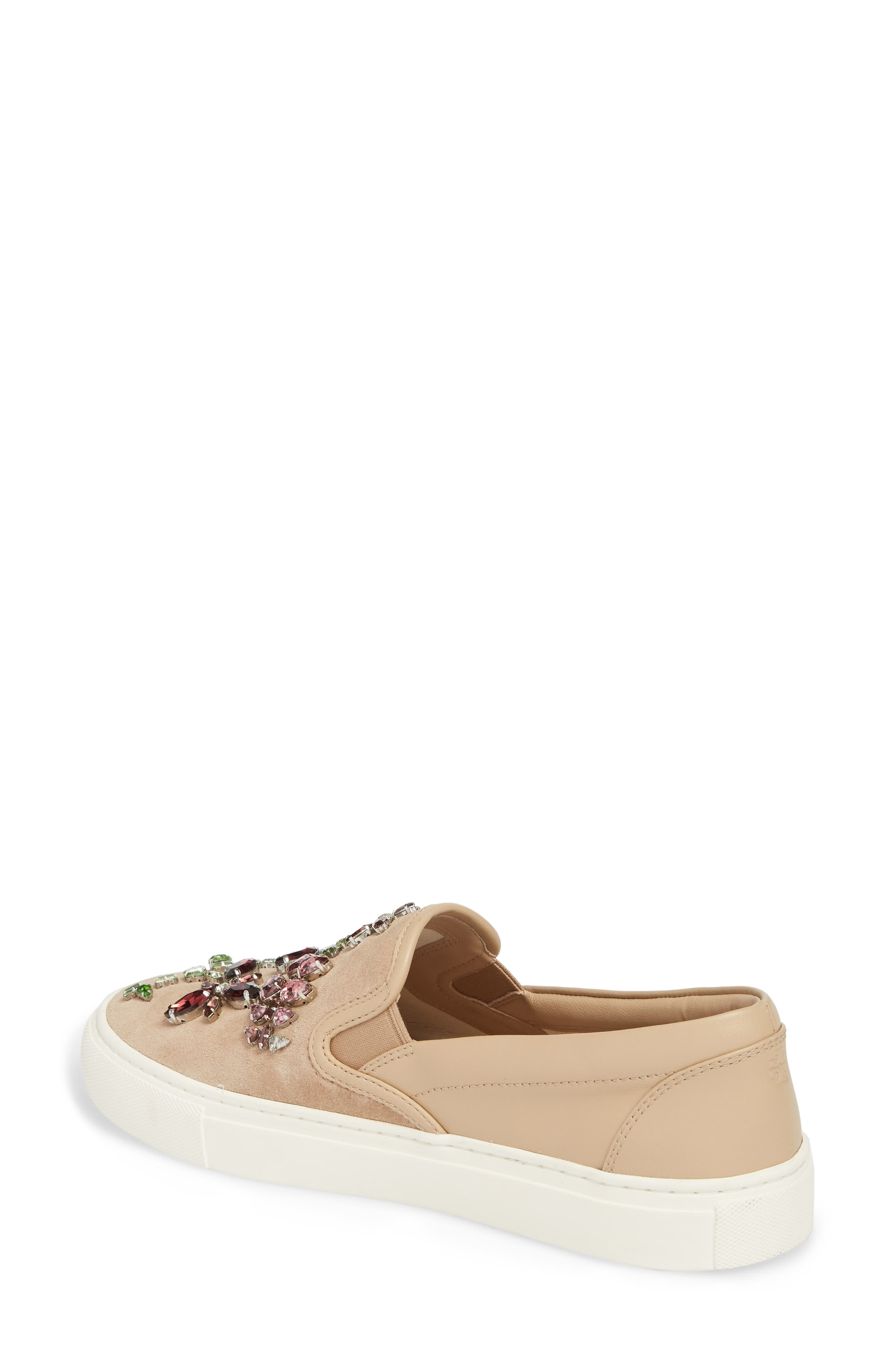 Meadow Embellished Slip-On Sneaker,                             Alternate thumbnail 2, color,                             Perfect Sand/ Multi