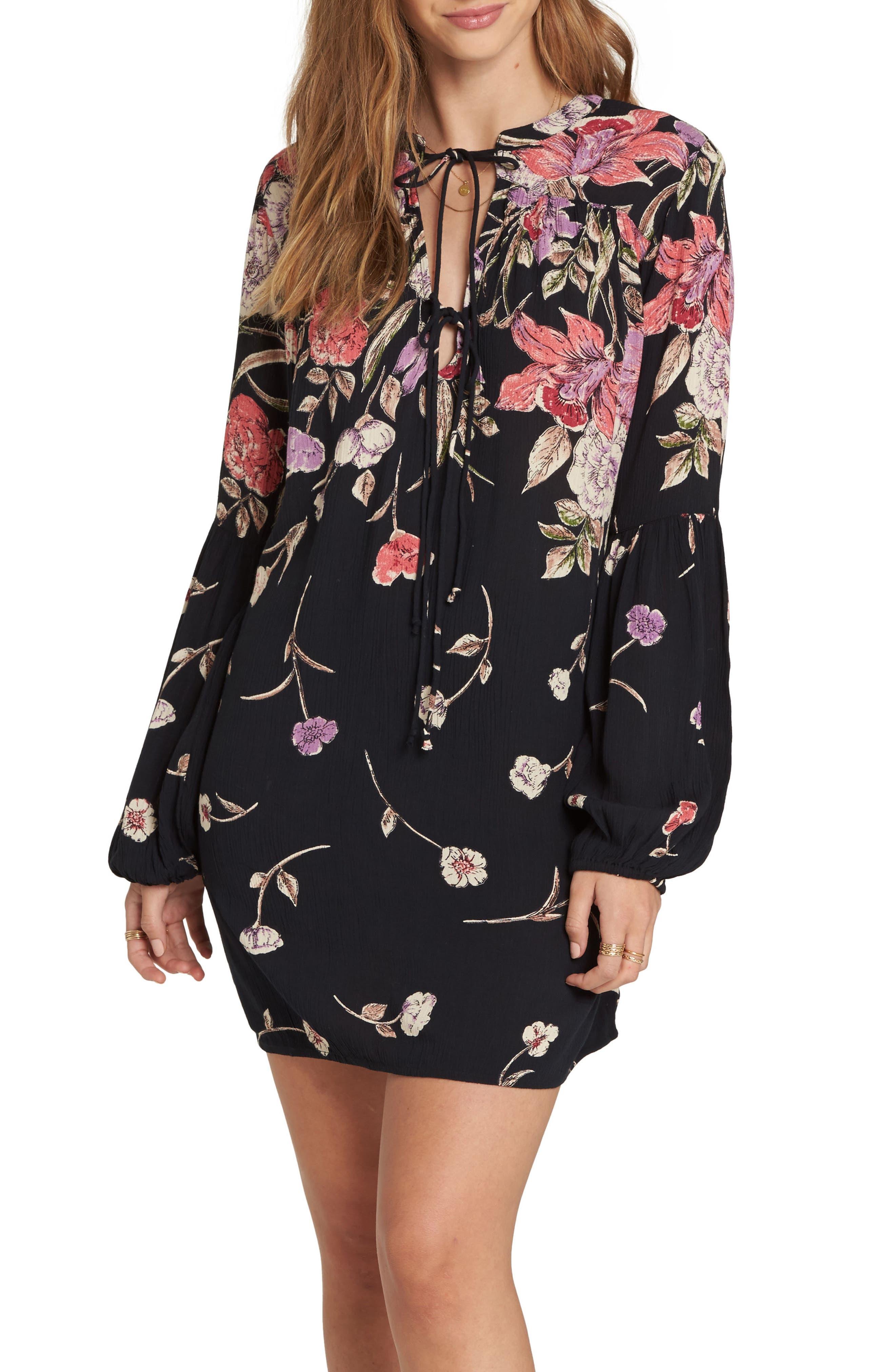Pretty Please Smocked Sundress,                             Main thumbnail 1, color,                             Black Floral