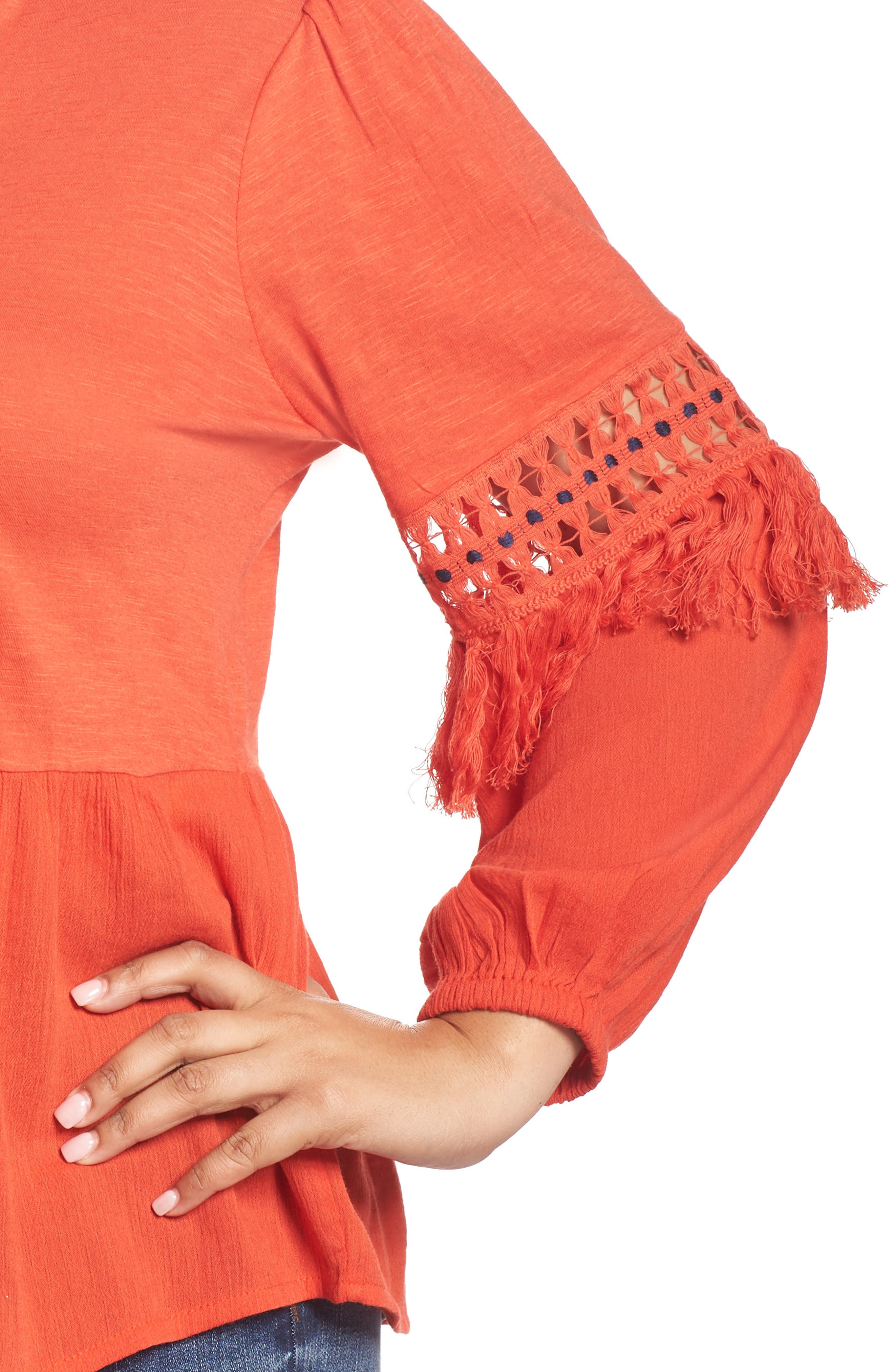 Cutout Peasant Top,                             Alternate thumbnail 4, color,                             Red Clay