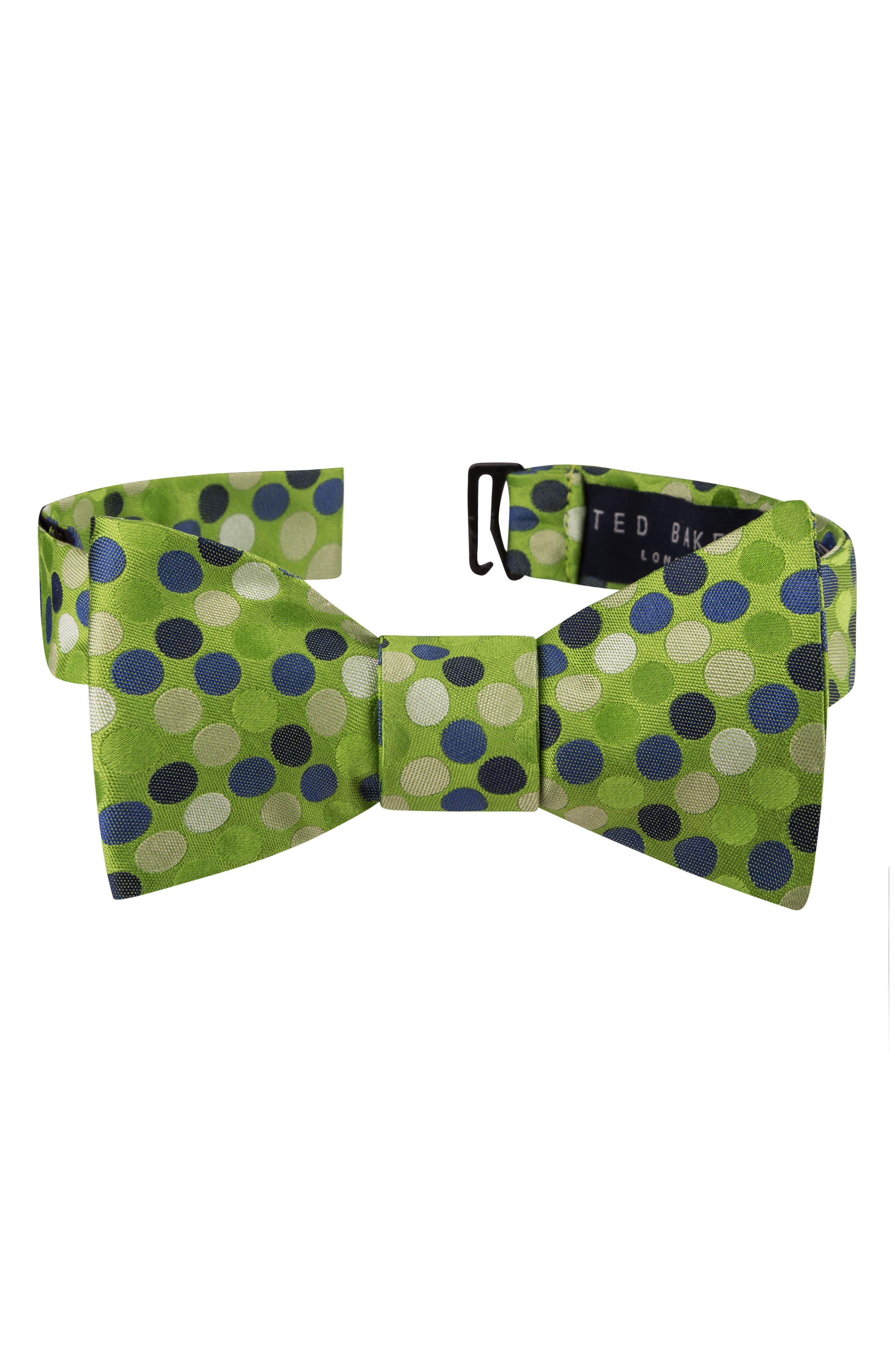 Dot Silk Bow Tie,                         Main,                         color, Green