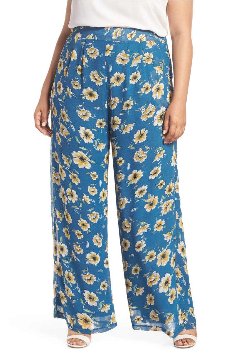 Floral Palazzo Pants,                         Main,                         color, Blue Yellow Flower