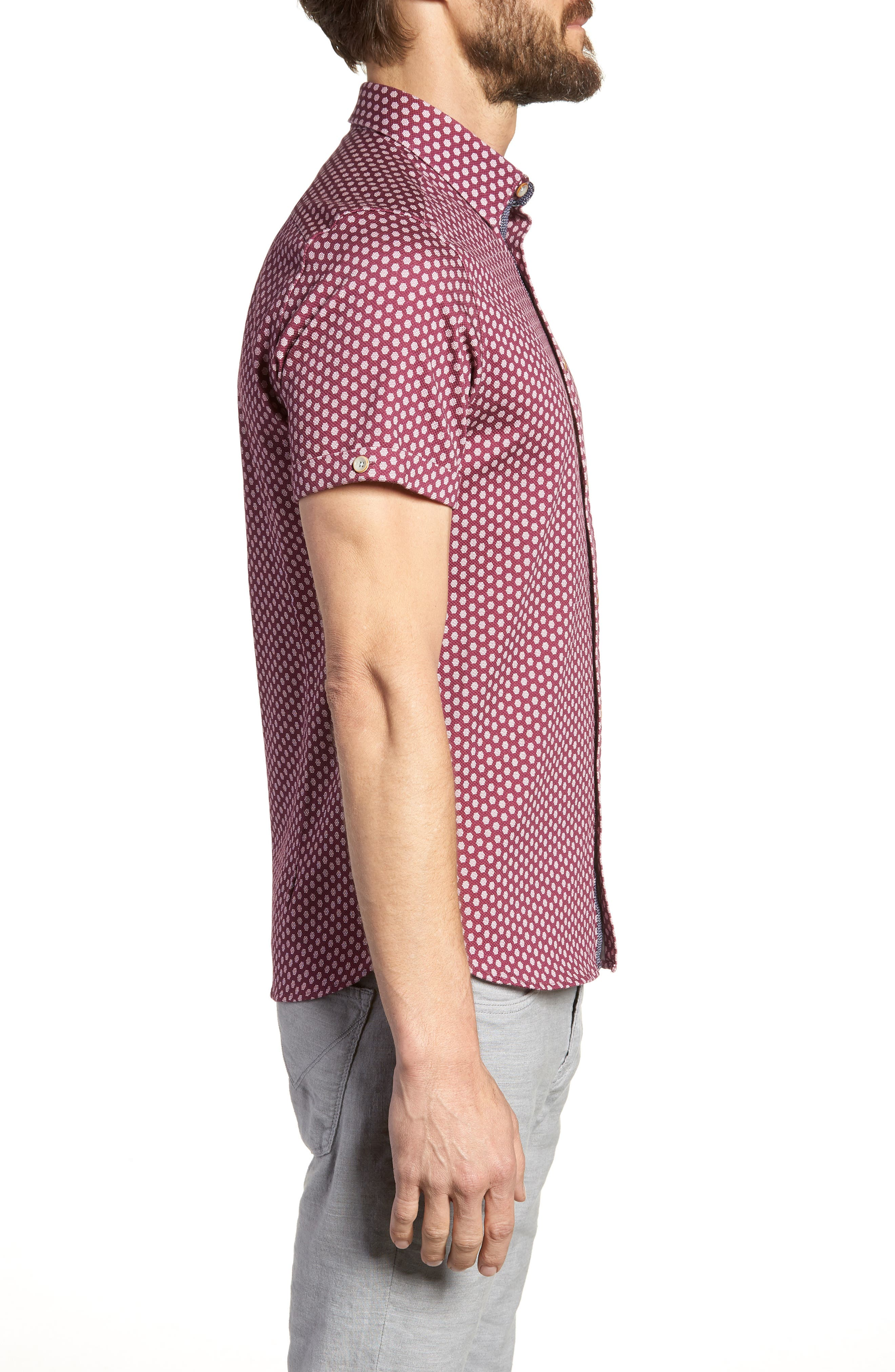 Furlaye Trim Fit Stretch Short Sleeve Sport Shirt,                             Alternate thumbnail 3, color,                             Pink