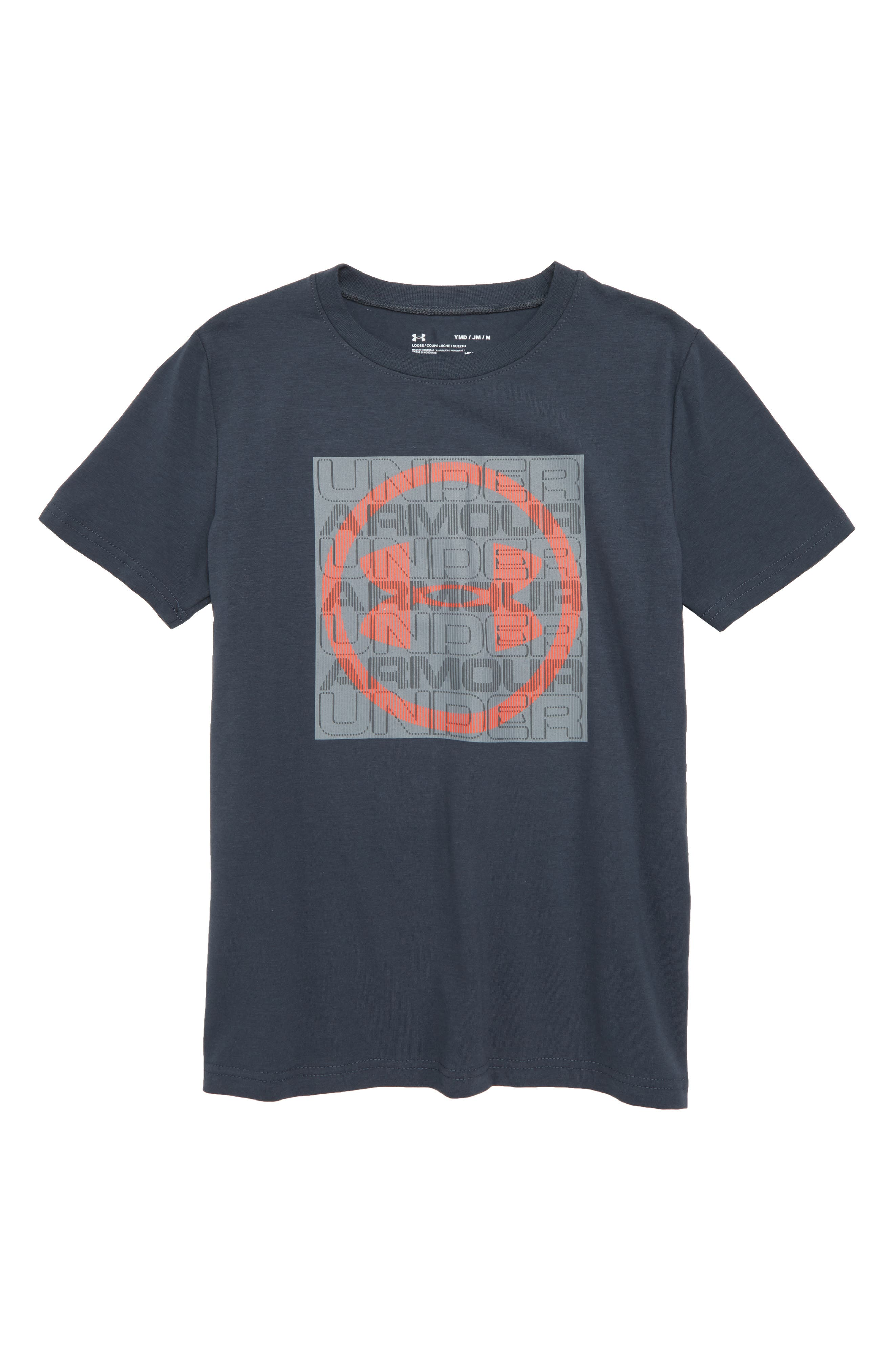 Visualogo T-Shirt,                         Main,                         color, Stealth Gray/ Neon Coral