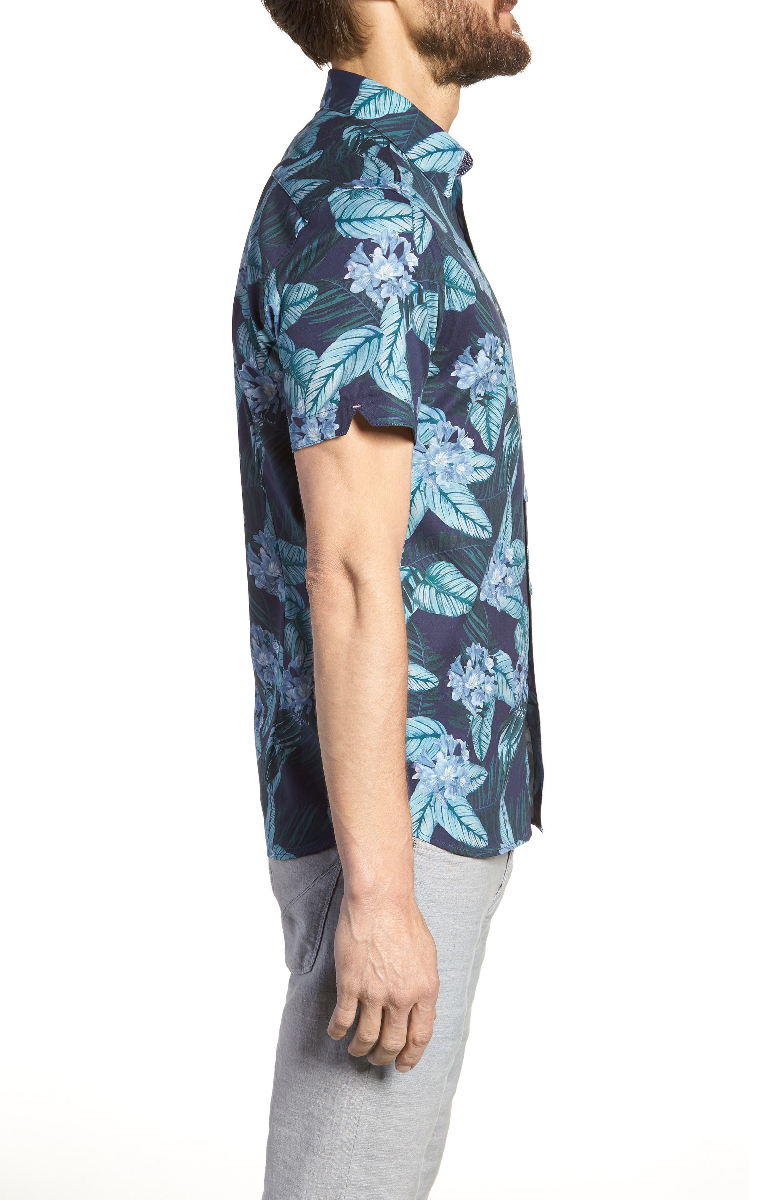 Folinor Slim Fit Floral Cotton Shirt,                             Alternate thumbnail 4, color,                             Navy
