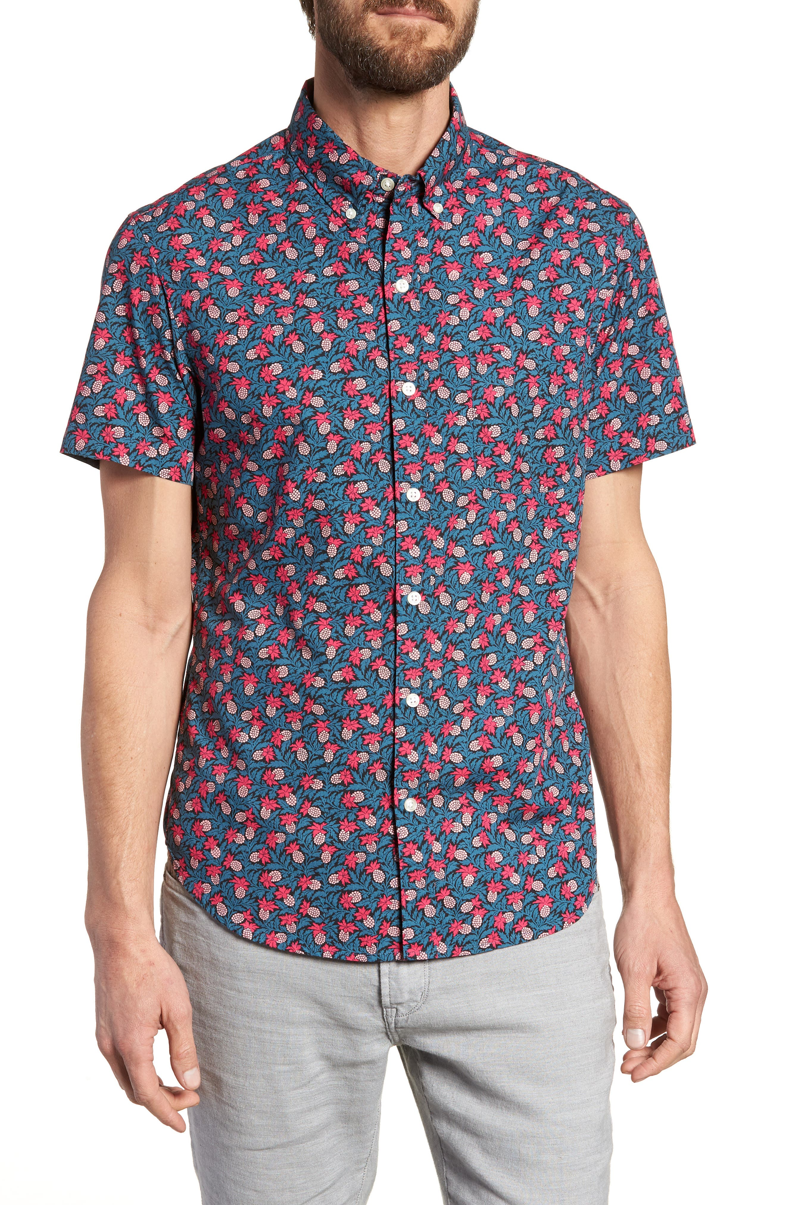 Slim Fit Short Sleeve Print Sport Shirt,                             Main thumbnail 1, color,                             Pineapple Crawl - Pacific Pink
