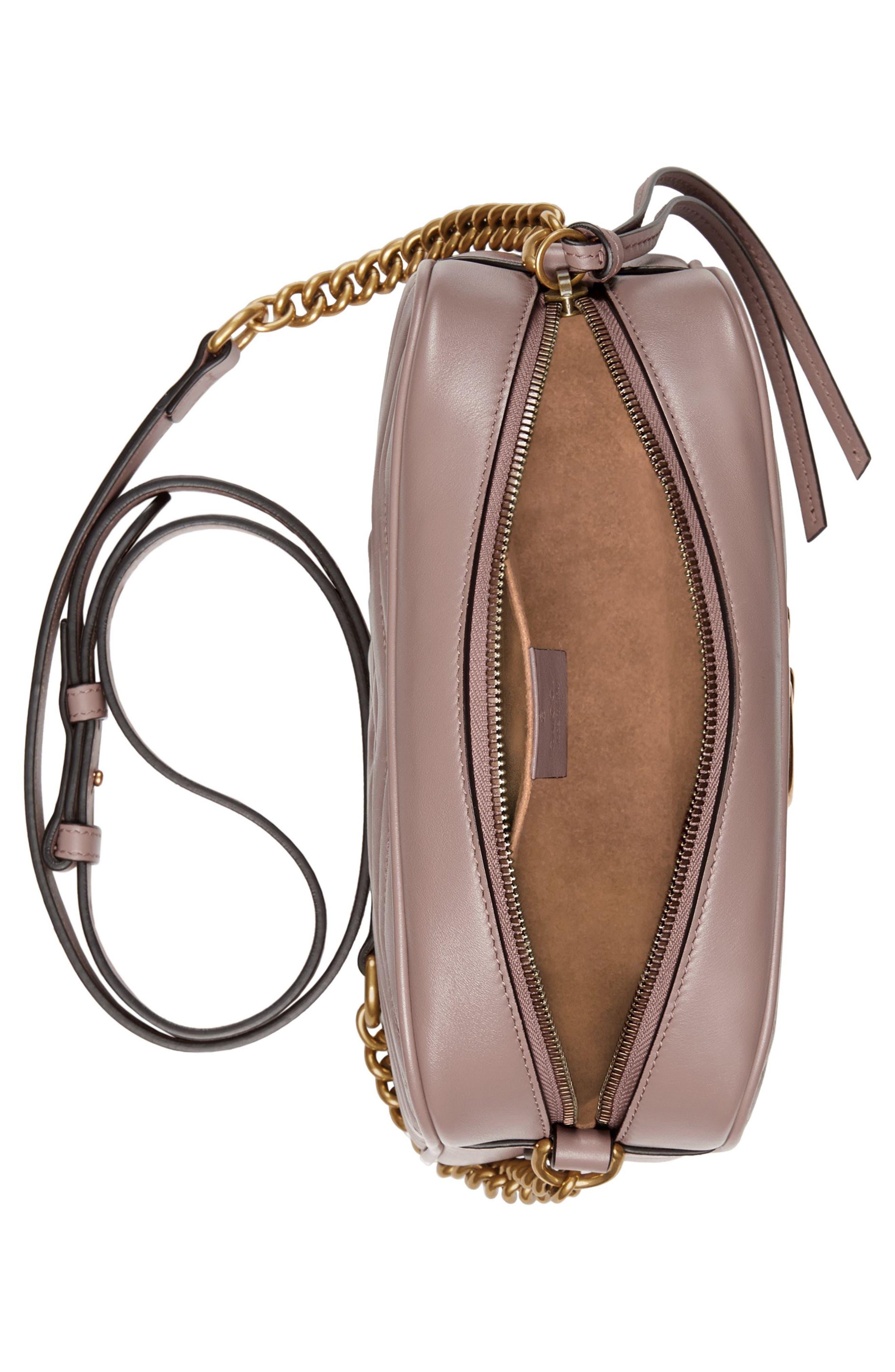 Small GG Marmont 2.0 Matelassé Leather Camera Bag,                             Alternate thumbnail 3, color,                             Porcelain Rose/ Porcelain Rose