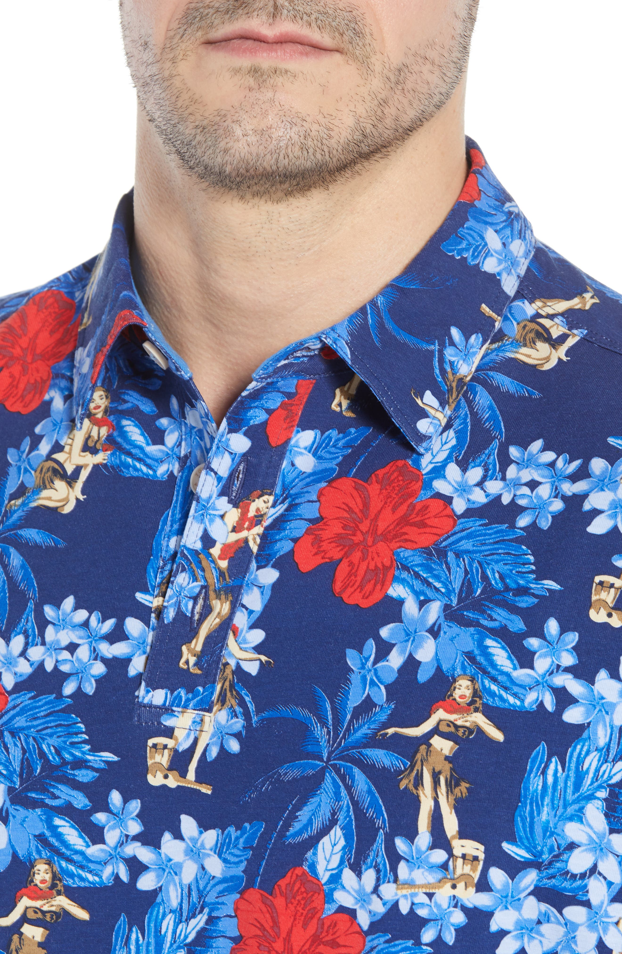 Hula Holiday Jersey Polo,                             Alternate thumbnail 4, color,                             Throne Blue