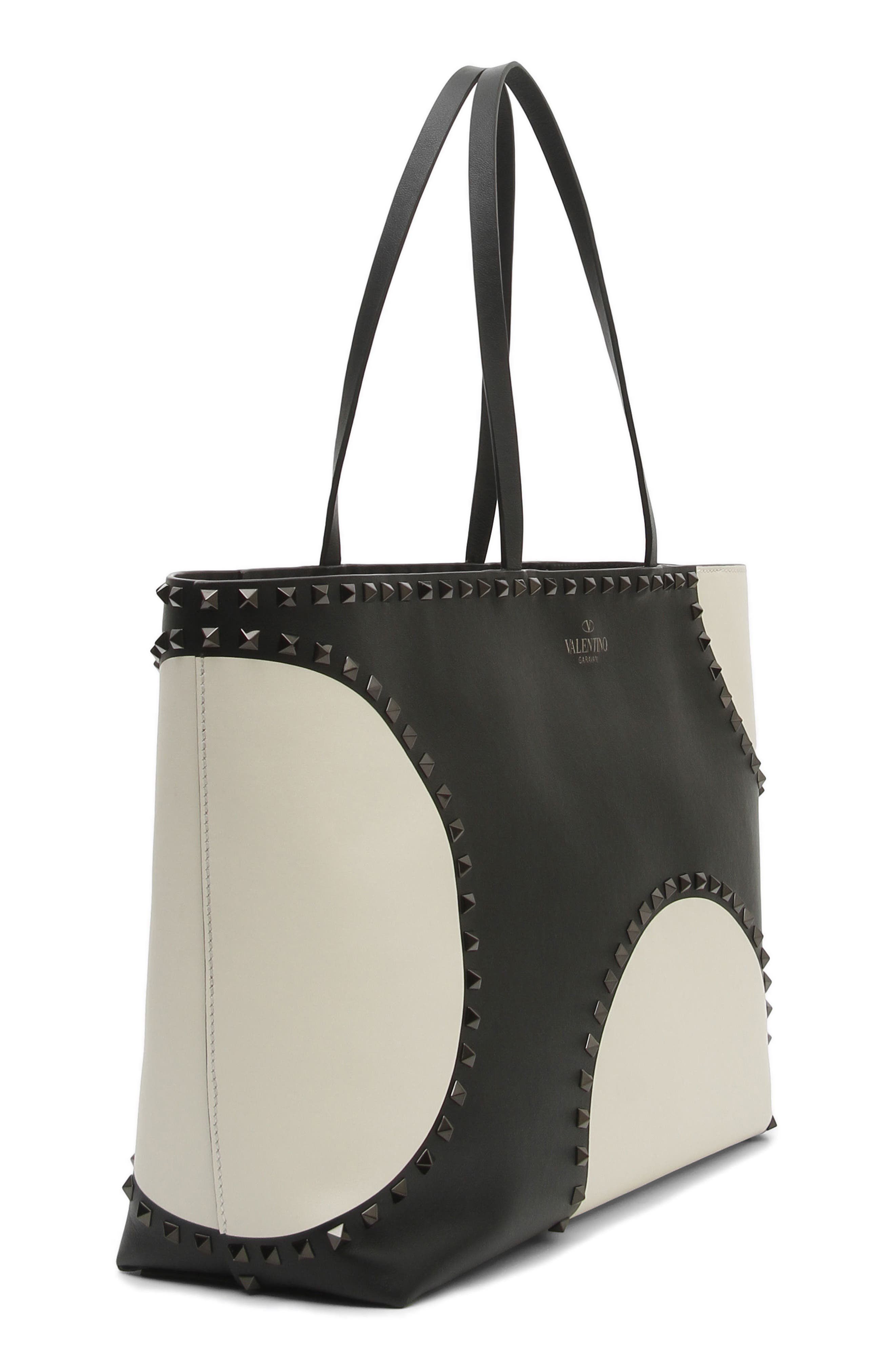 Rockstud Large Dot Leather Tote,                             Alternate thumbnail 3, color,                             Black/ White