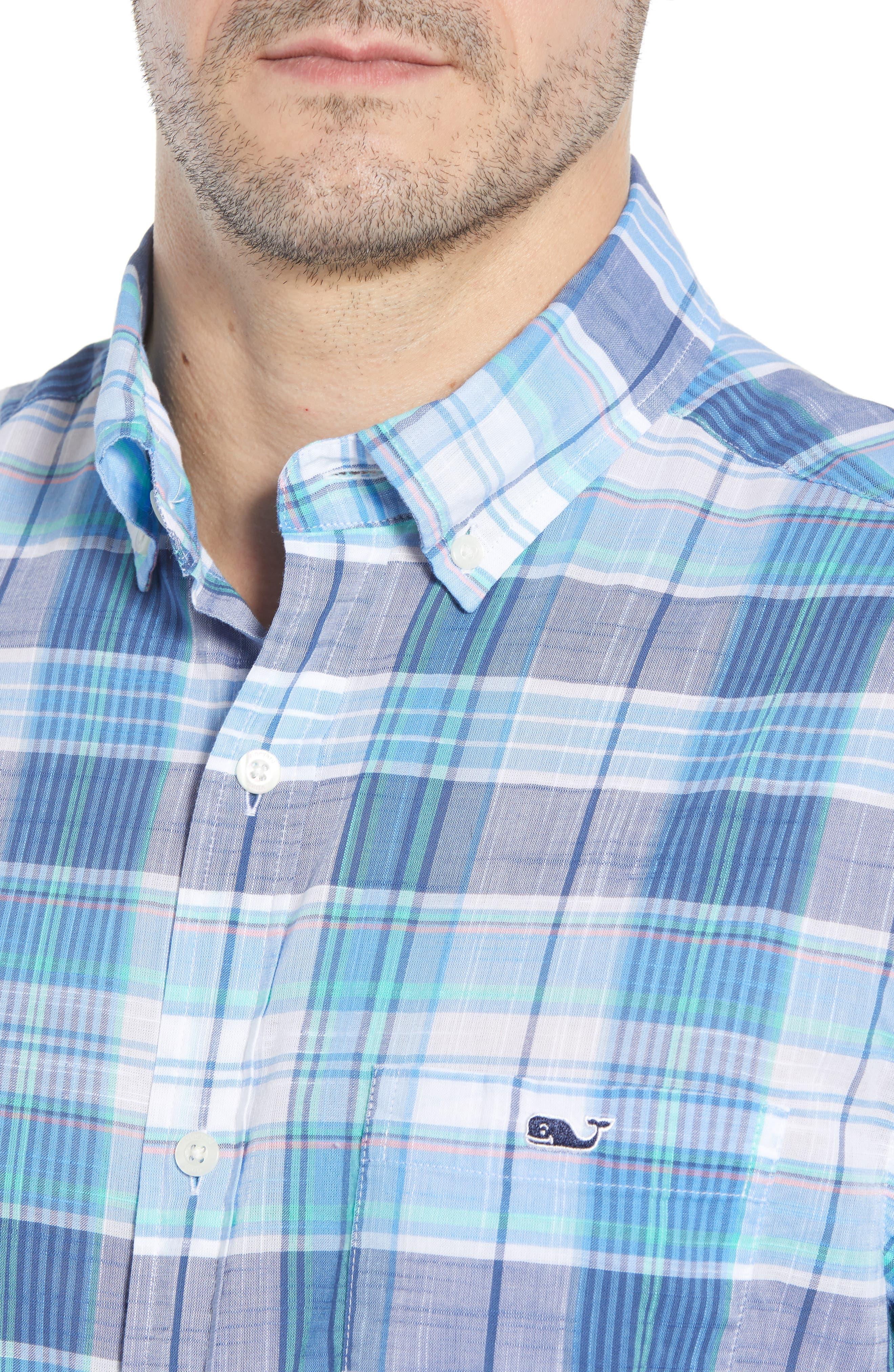 Smith Point Tucker Classic Fit Plaid Sport Shirt,                             Alternate thumbnail 5, color,                             Moonshine