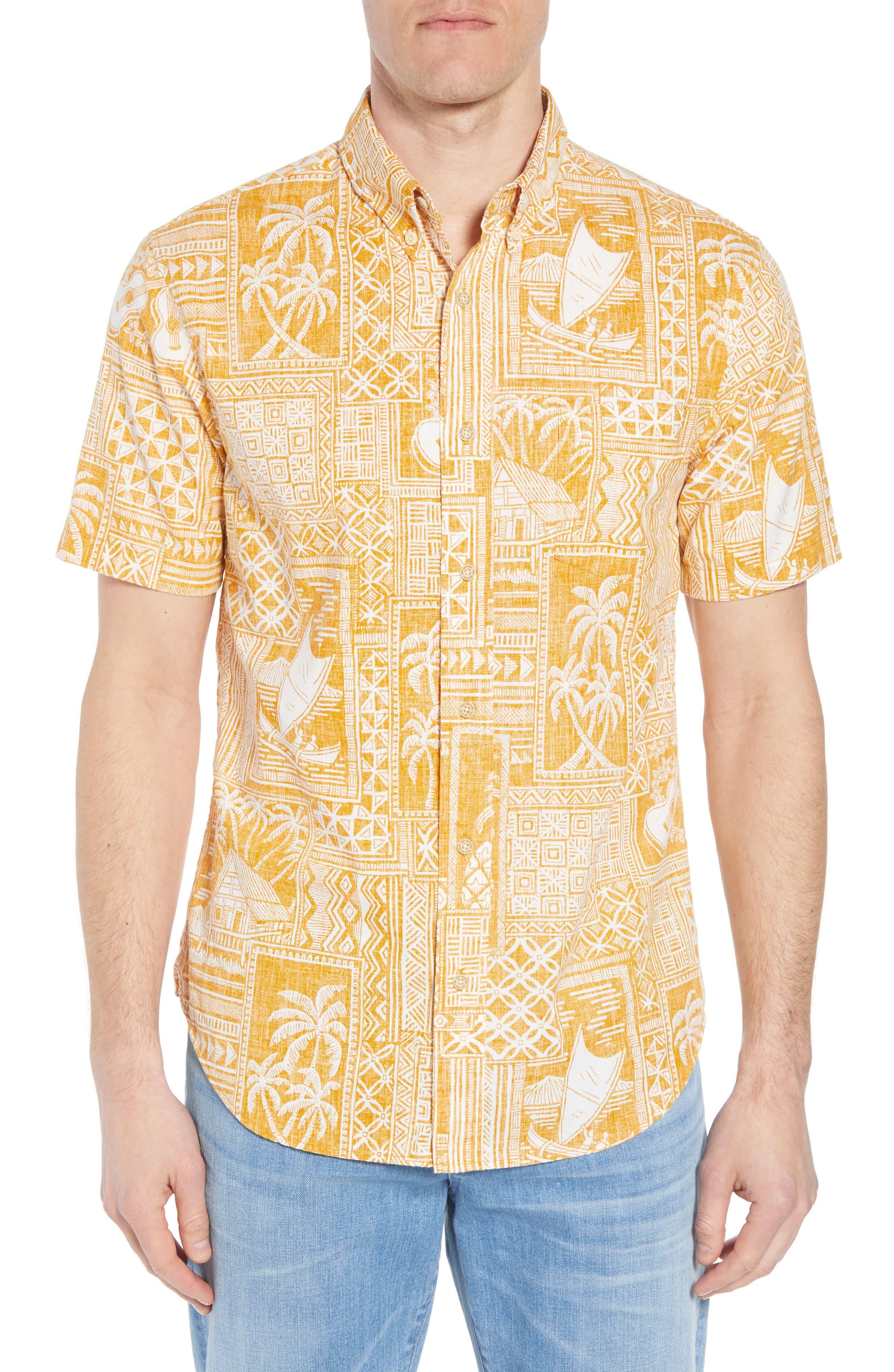 Reyn Spooner Tapa Wrappa Tailored Fit Sport Shirt
