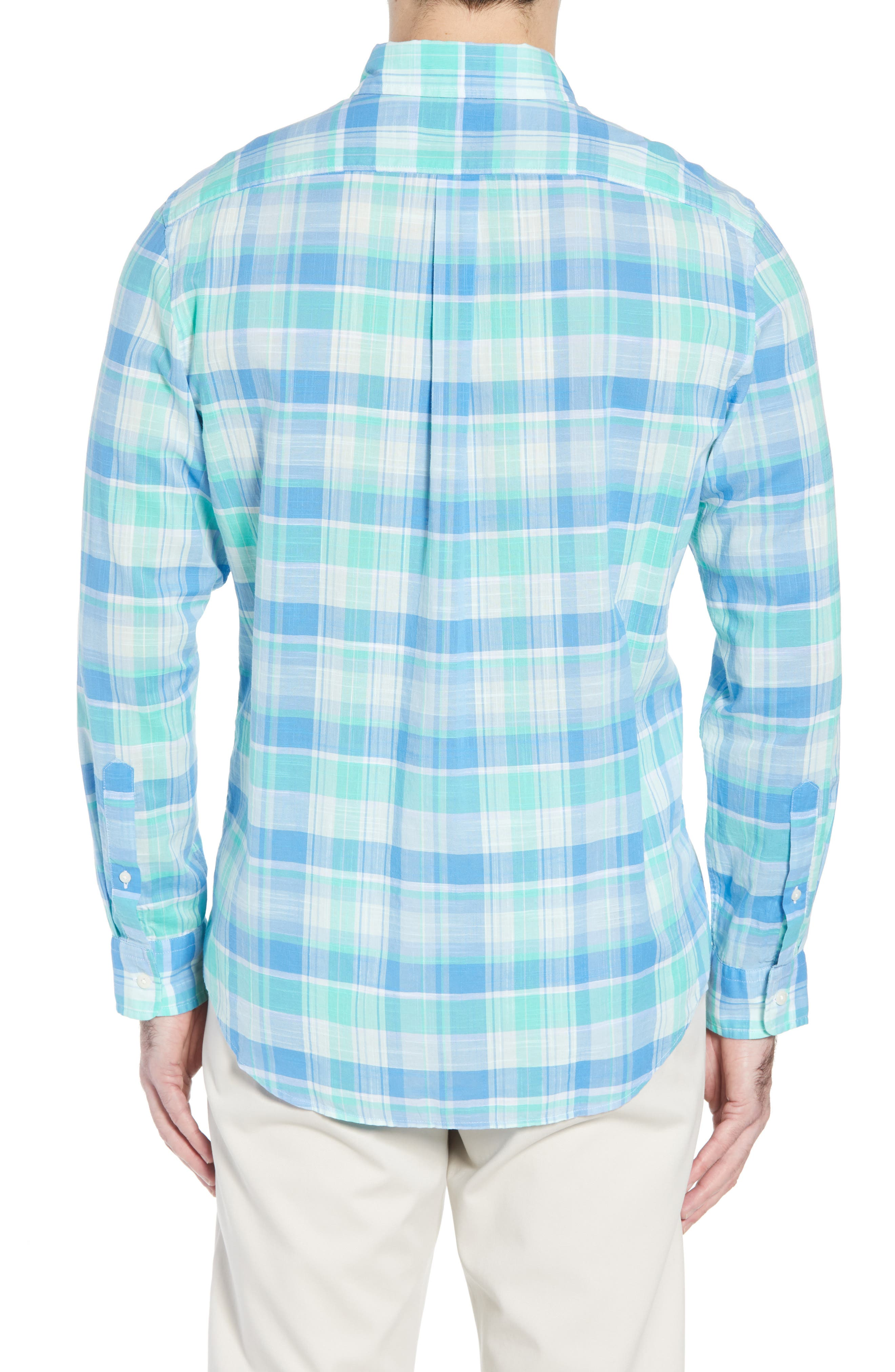 Homer Pond Murray Classic Fit Plaid Sport Shirt,                             Alternate thumbnail 3, color,                             Antigua Green