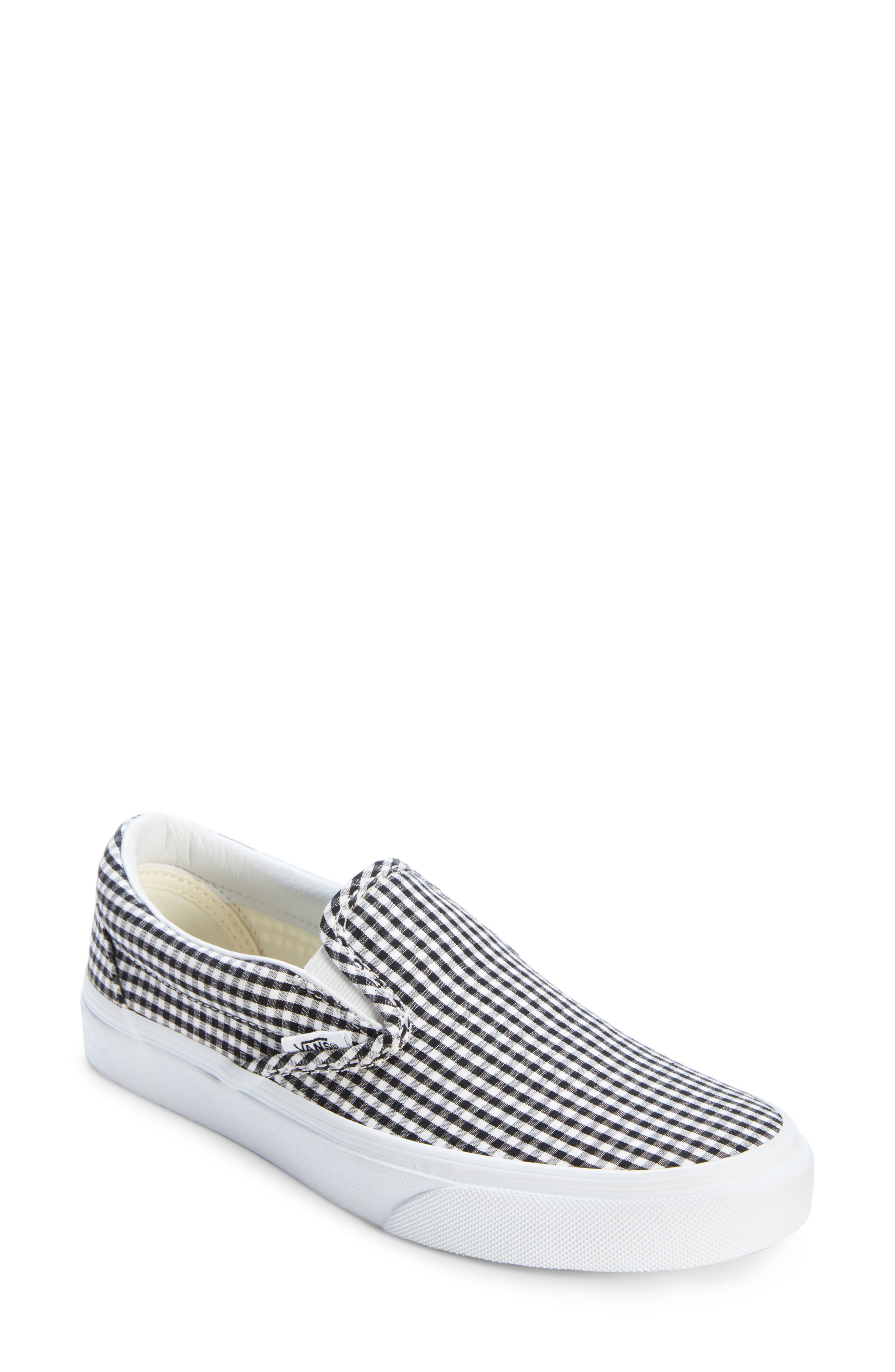 Classic Slip-On Sneaker,                         Main,                         color, Black/ True White Gingham