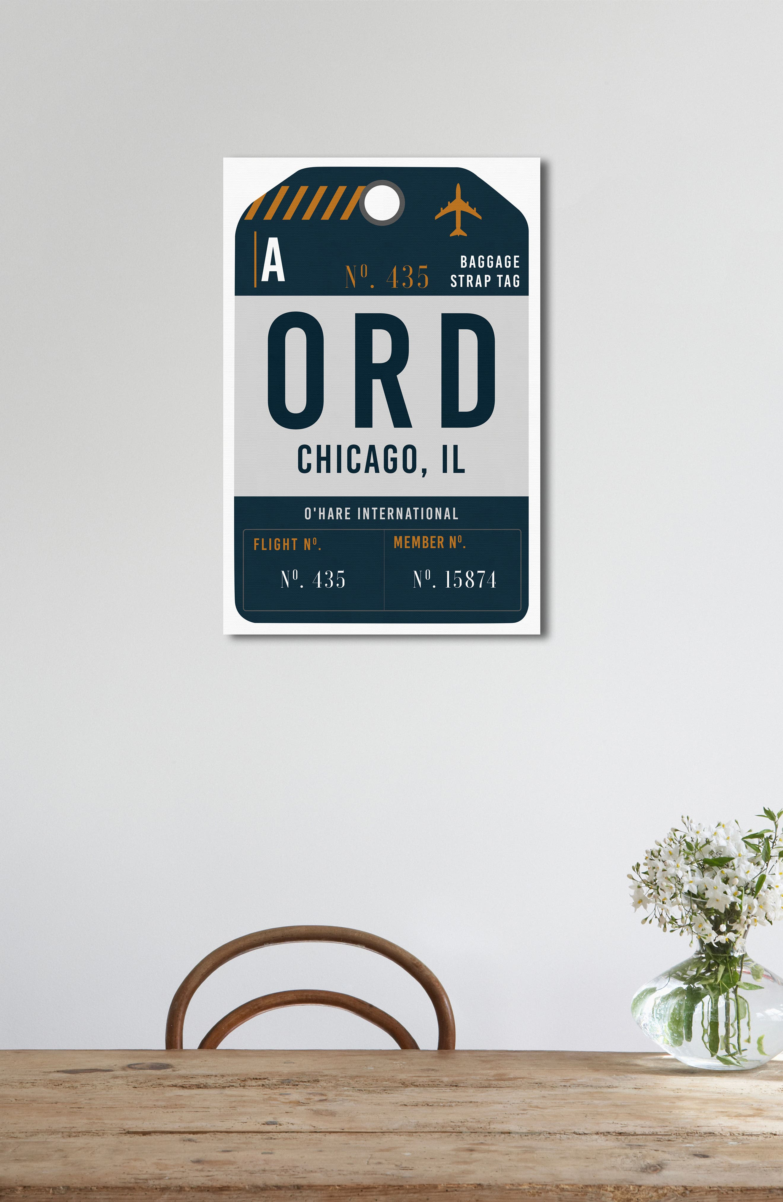 Chicago Luggage Tag Wall Art,                             Alternate thumbnail 4, color,                             Gray