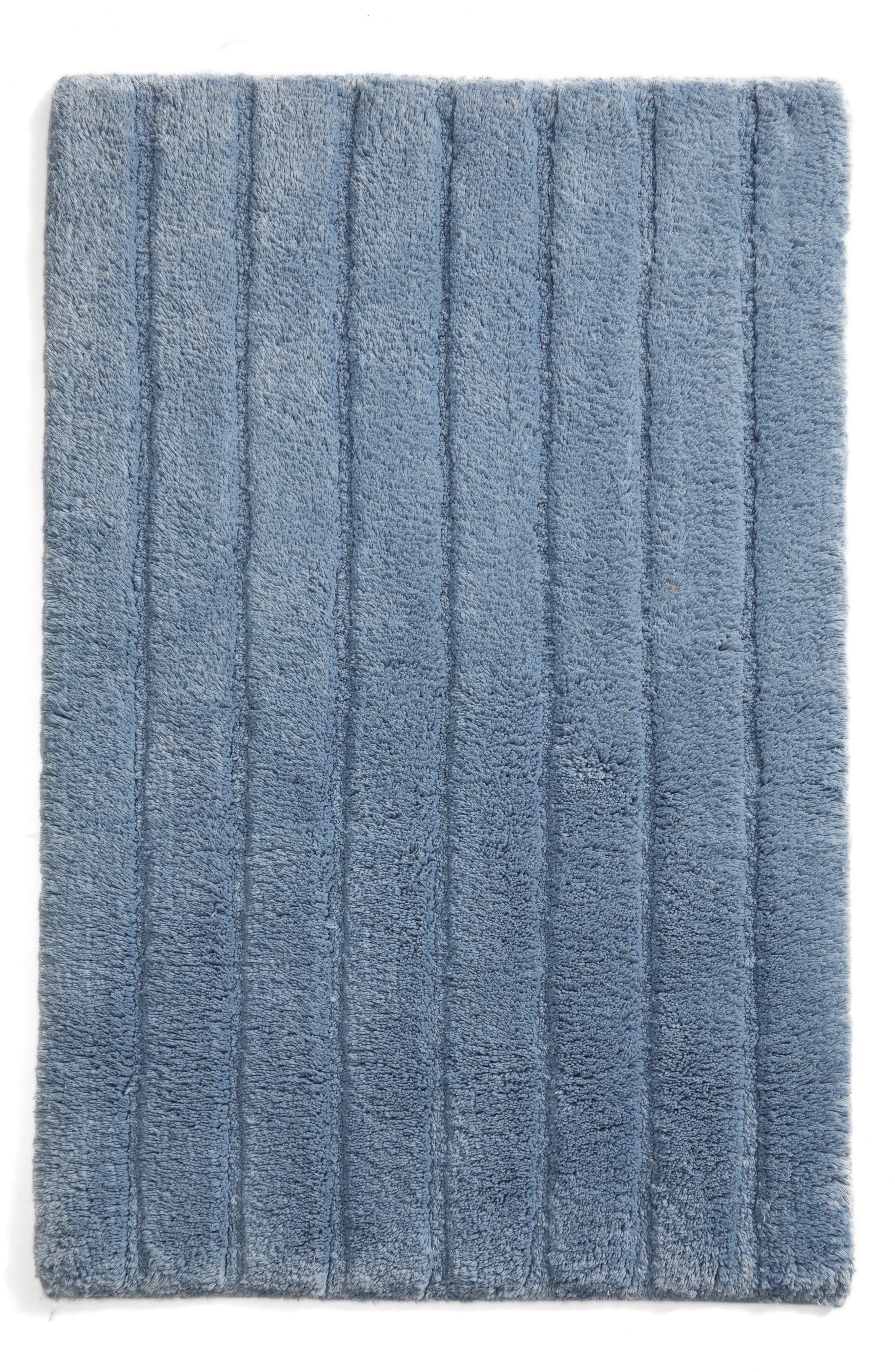 Ribbed Velour Bath Rug,                         Main,                         color, Blue Chambray