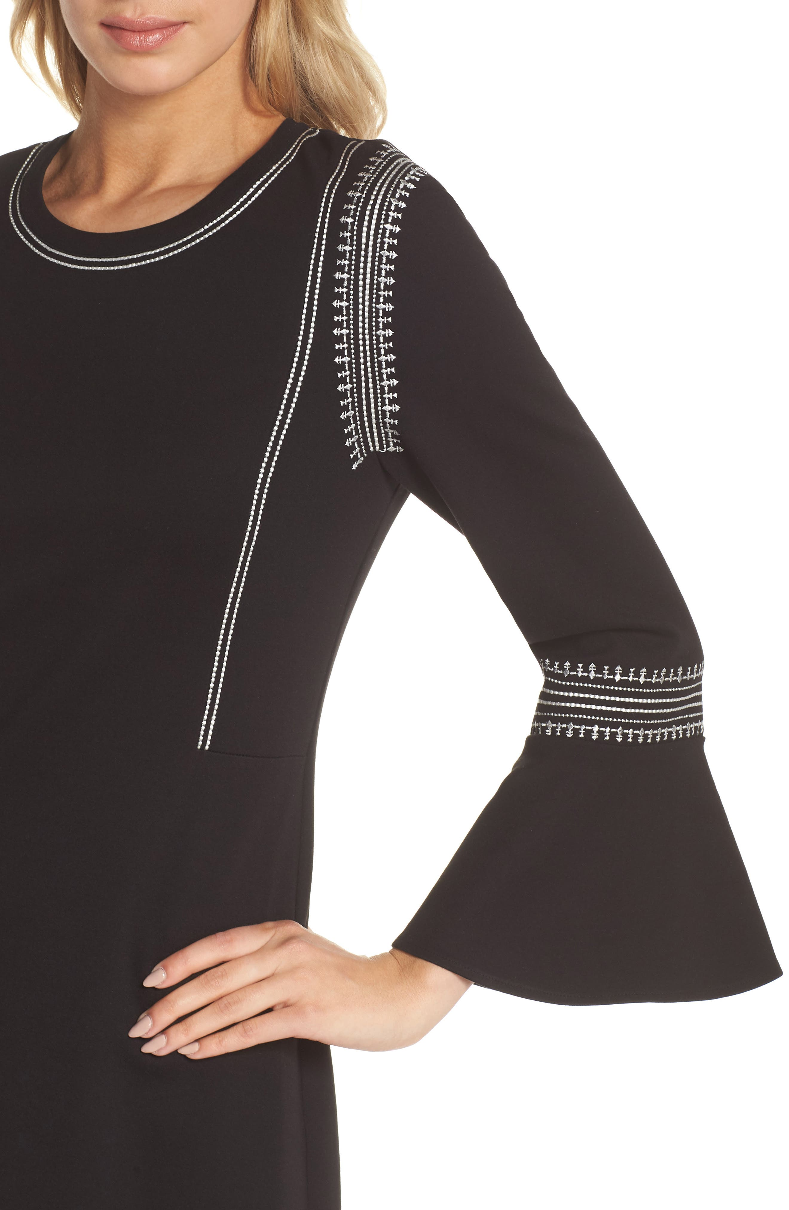 Danielle Embroidered Bell Sleeve Knit Dress,                             Alternate thumbnail 4, color,                             Black