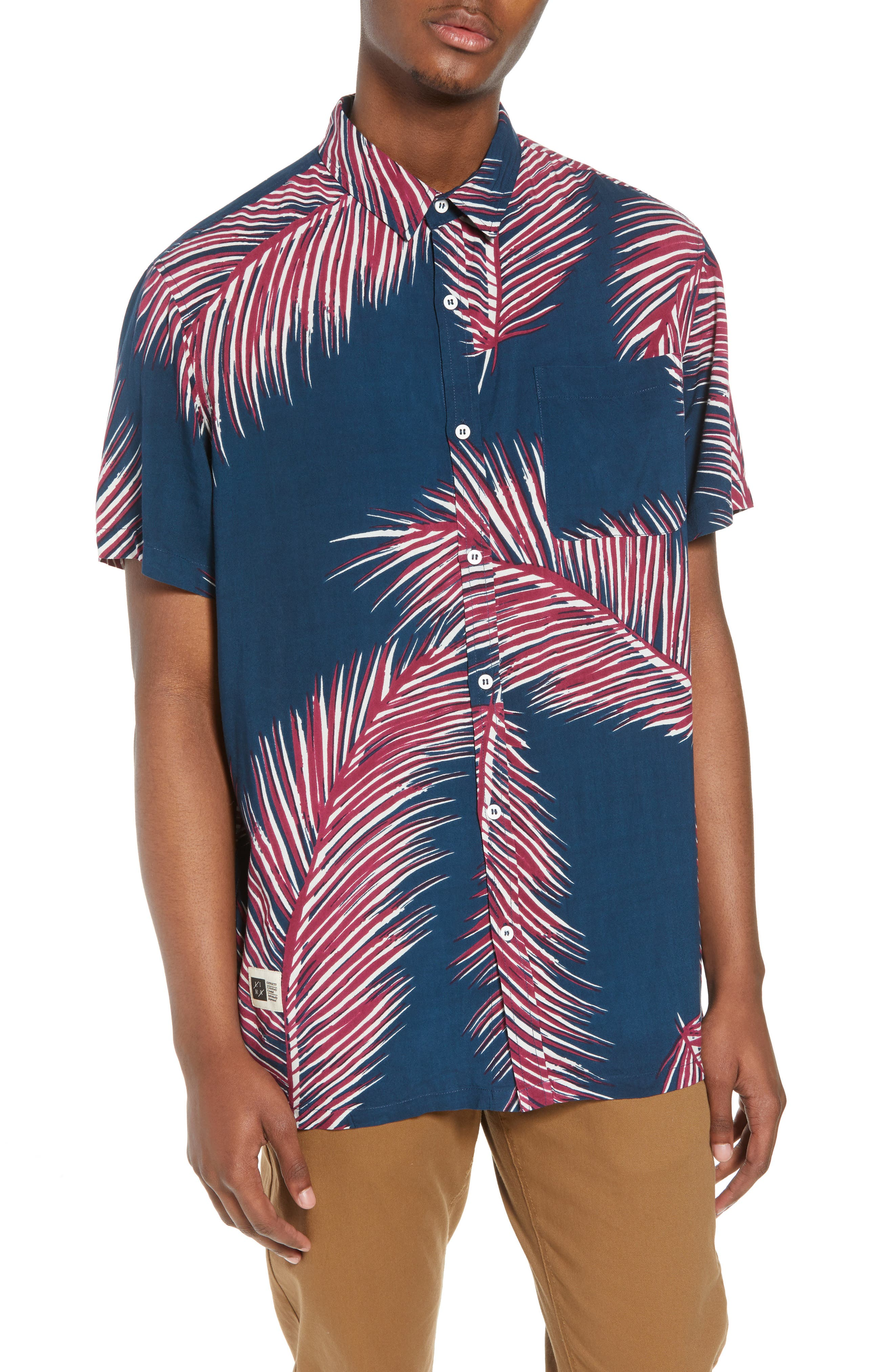 Giant Palms Woven Shirt,                         Main,                         color, Navy