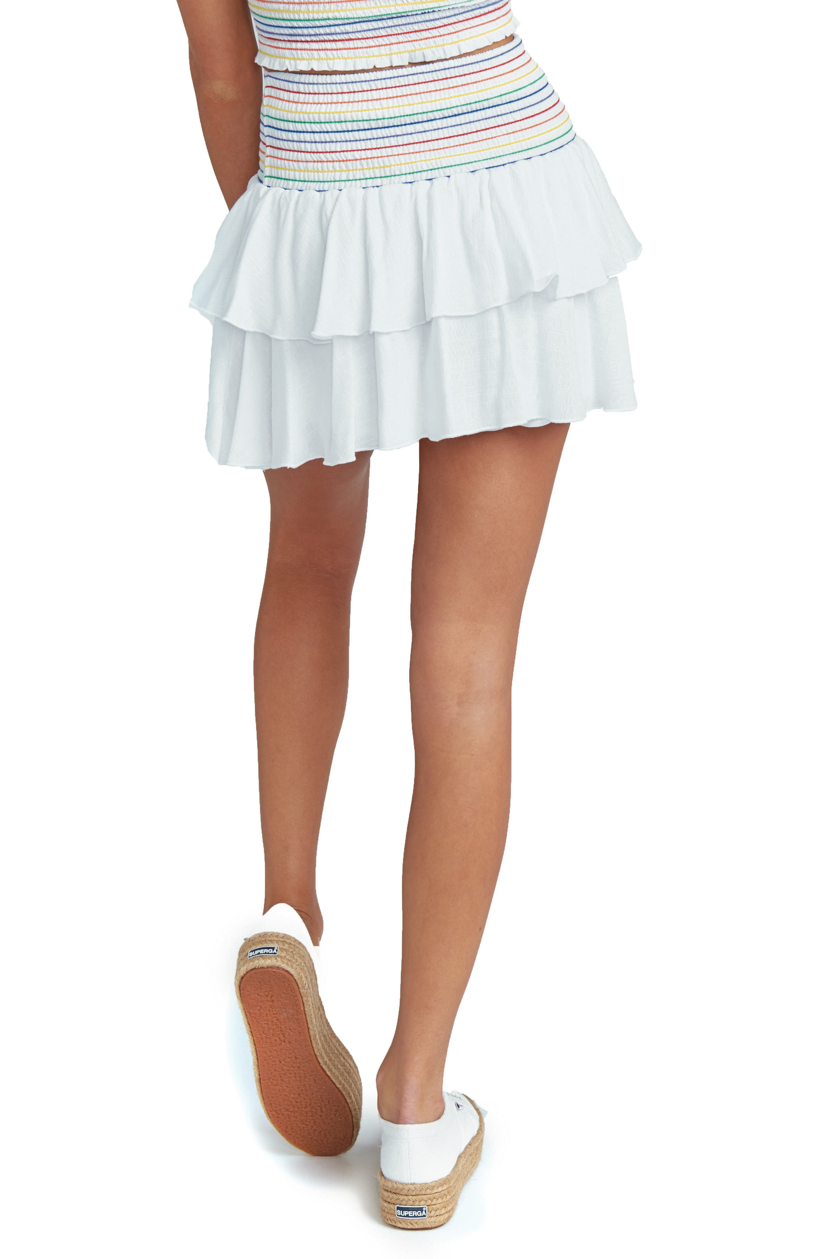 Frolick Ruffle Skort,                             Alternate thumbnail 3, color,                             White Cruise With Rainbow