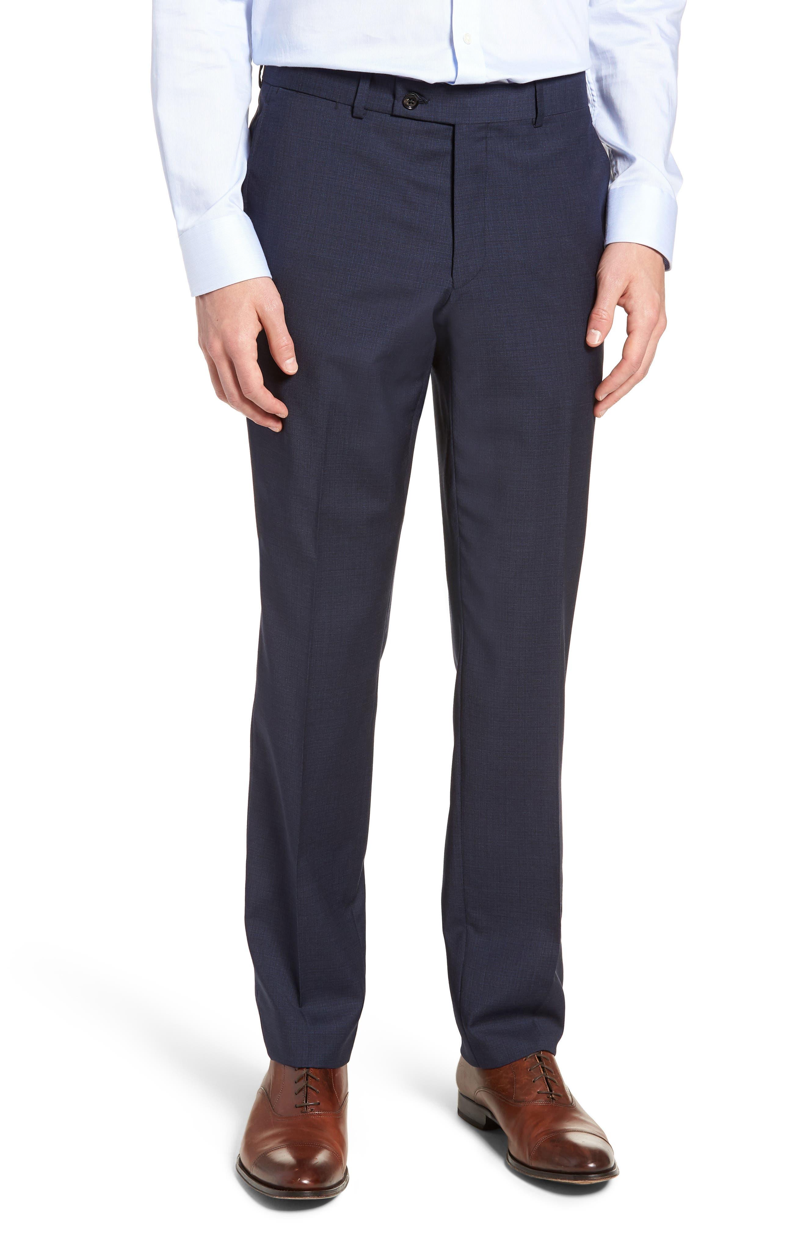 Jay Trim Fit Solid Wool Suit,                             Alternate thumbnail 6, color,                             Blue