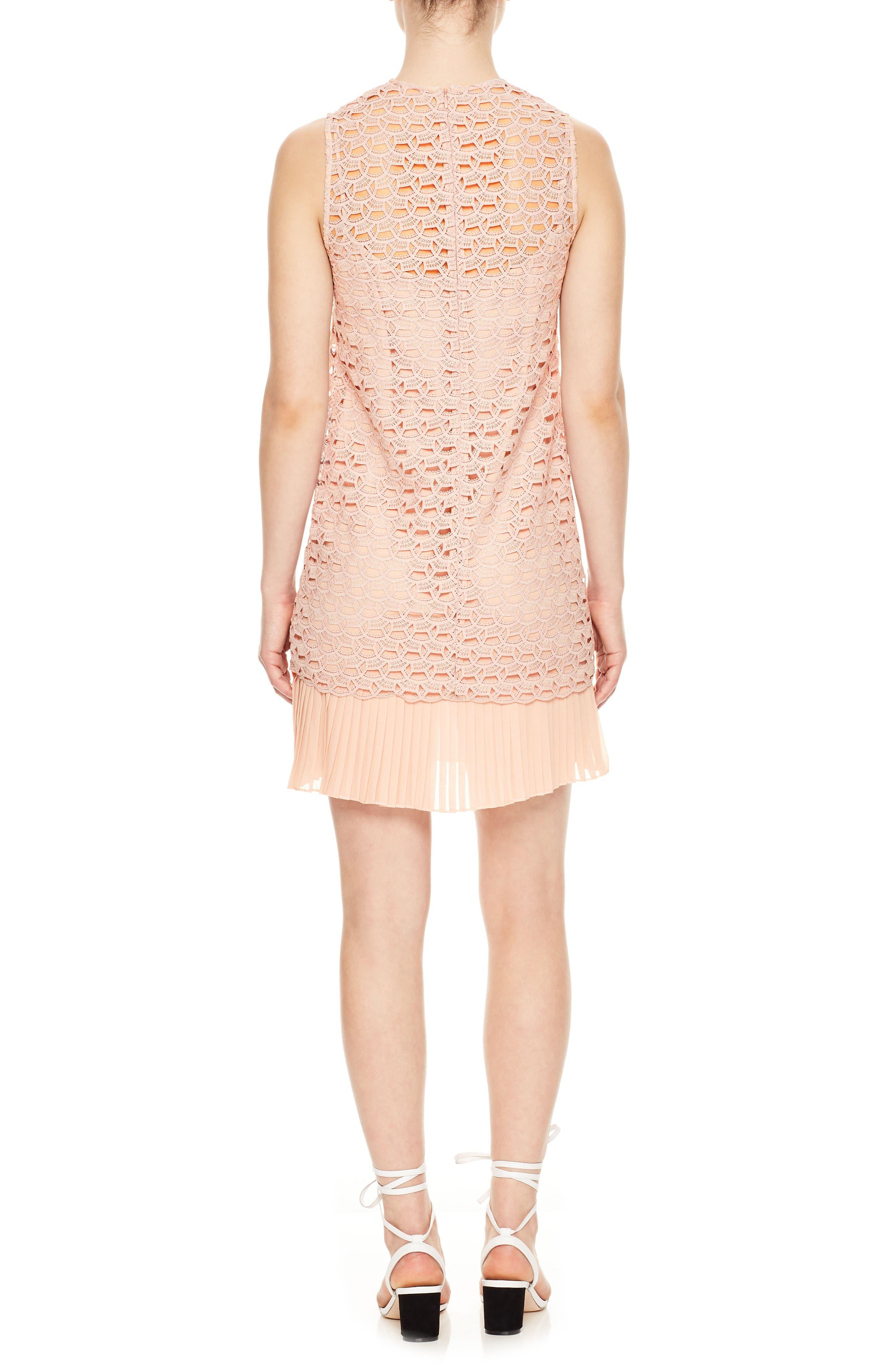 Lace Accordion Pleat Trim Dress,                             Alternate thumbnail 2, color,                             Poudre