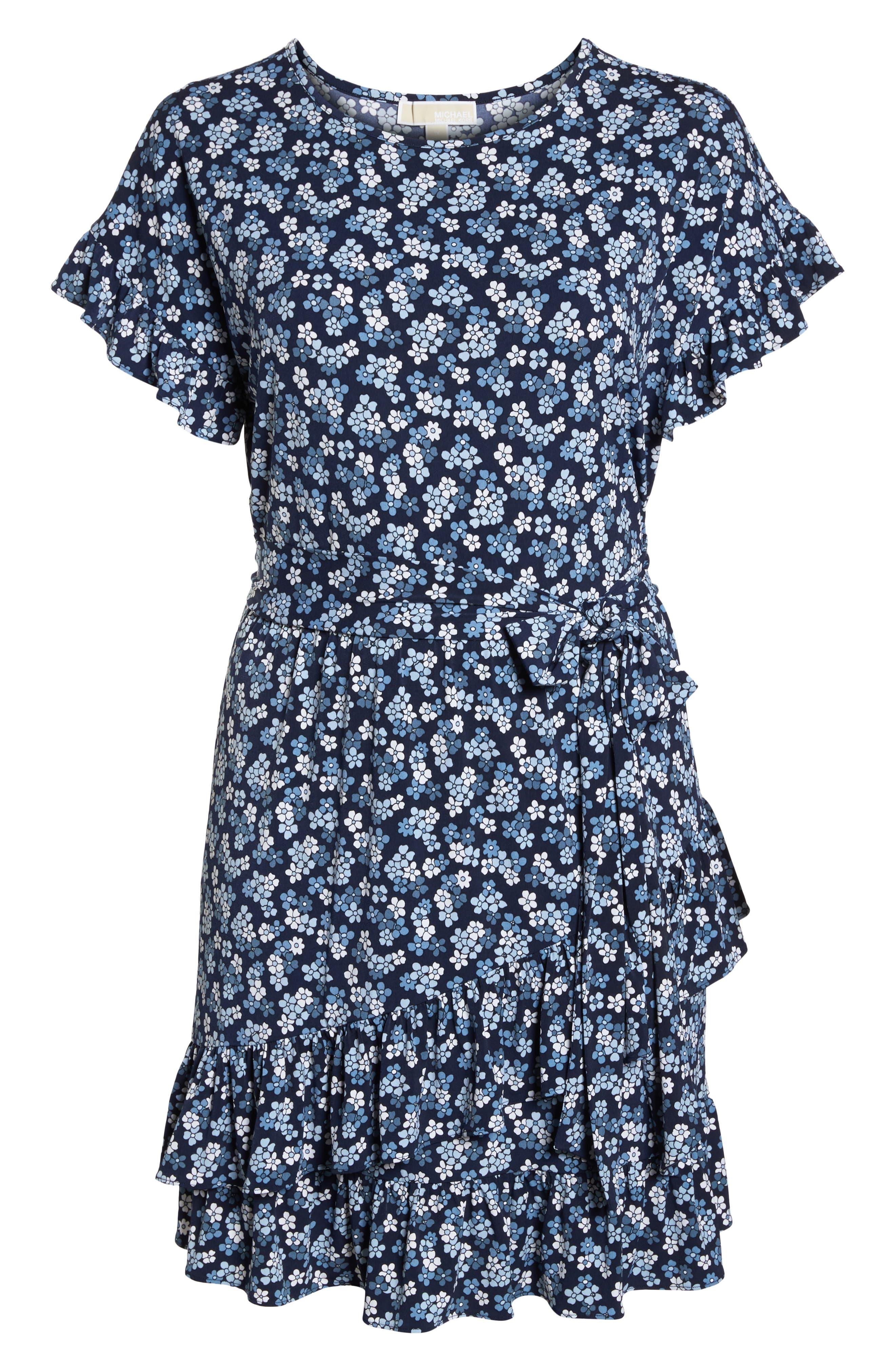 Cherry Blossom Ruffle Faux Wrap Dress,                             Alternate thumbnail 6, color,                             True Navy/ Light Chambray