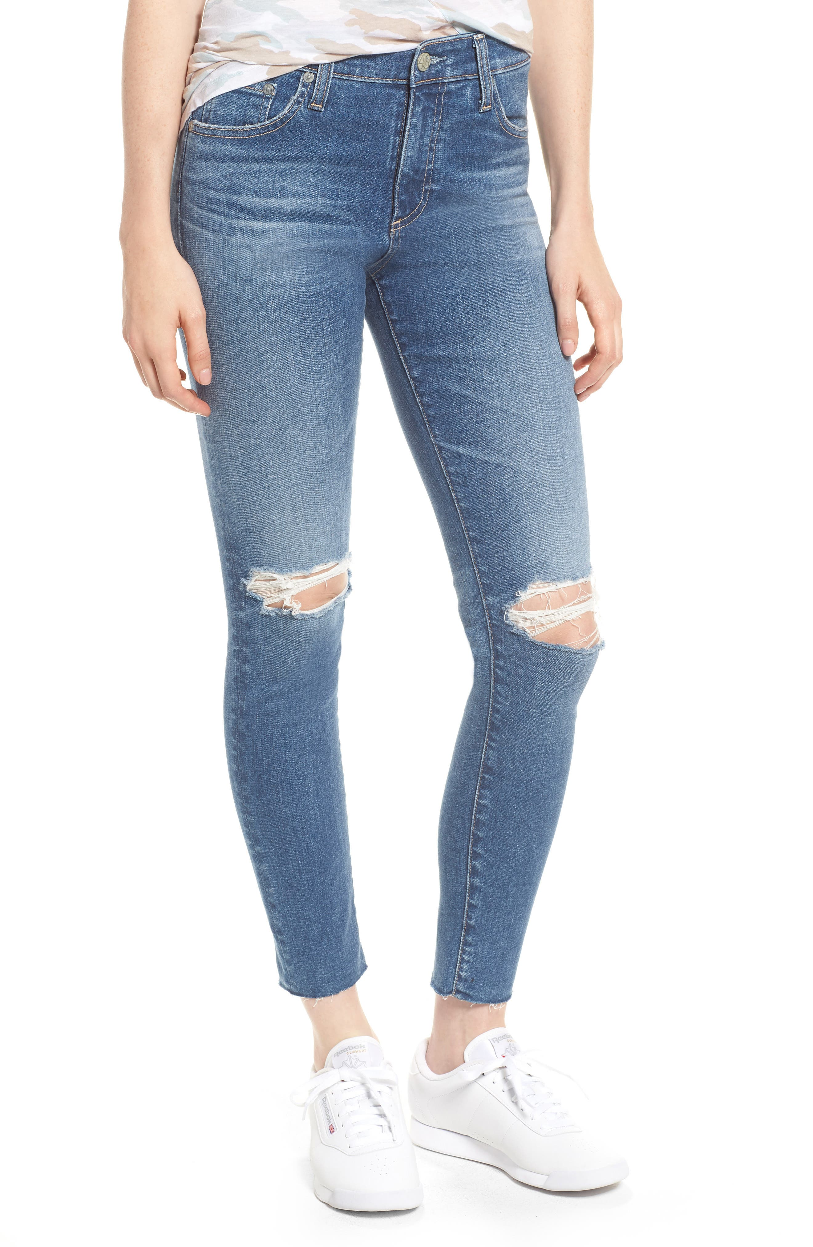 The Farrah High Waist Ankle Skinny Jeans,                         Main,                         color, 13 Year Saltwater