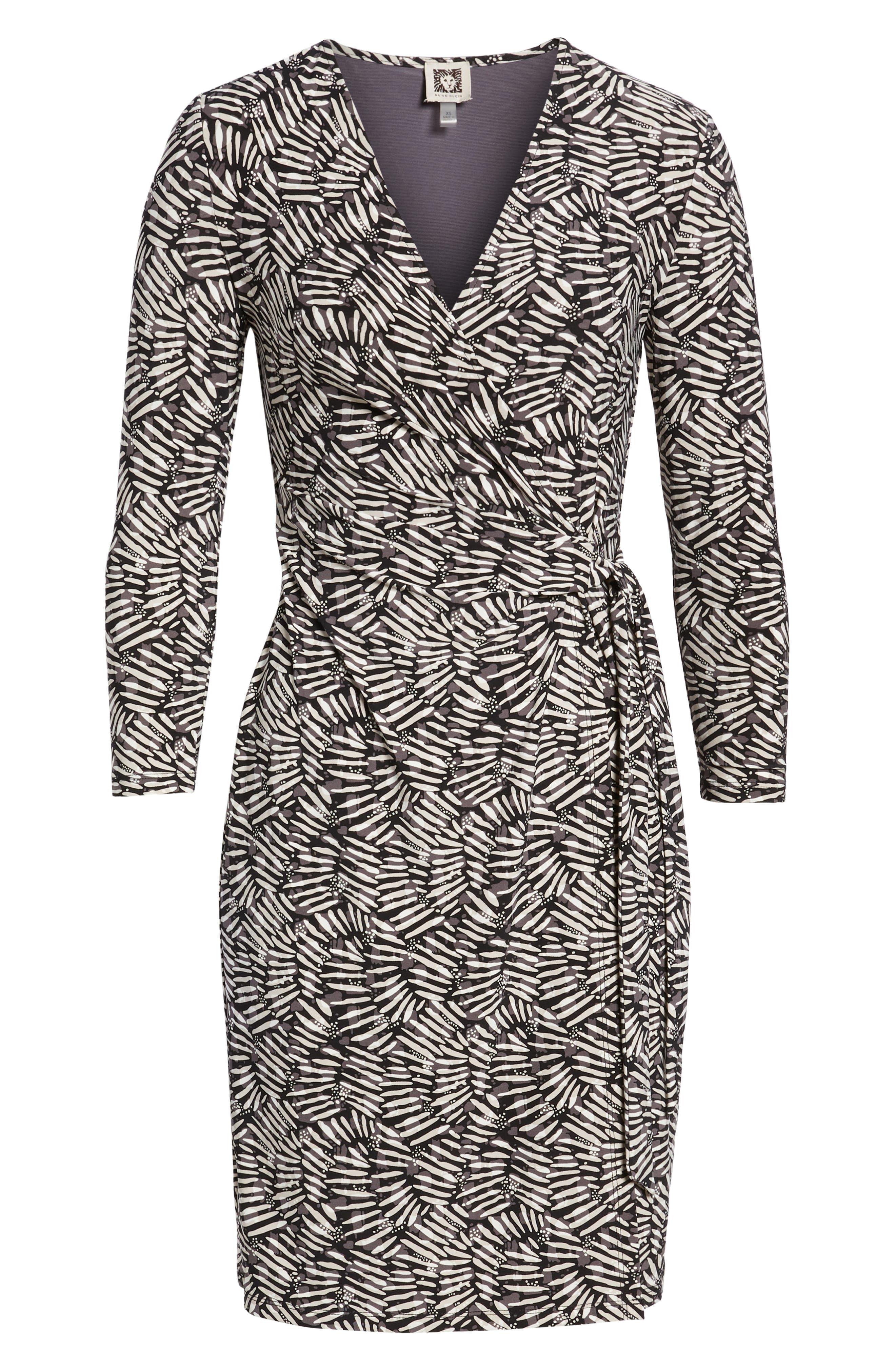 Cedarwood Stretch Crepe Faux Wrap Dress,                             Alternate thumbnail 6, color,                             Black/ Oyster Shell Combo
