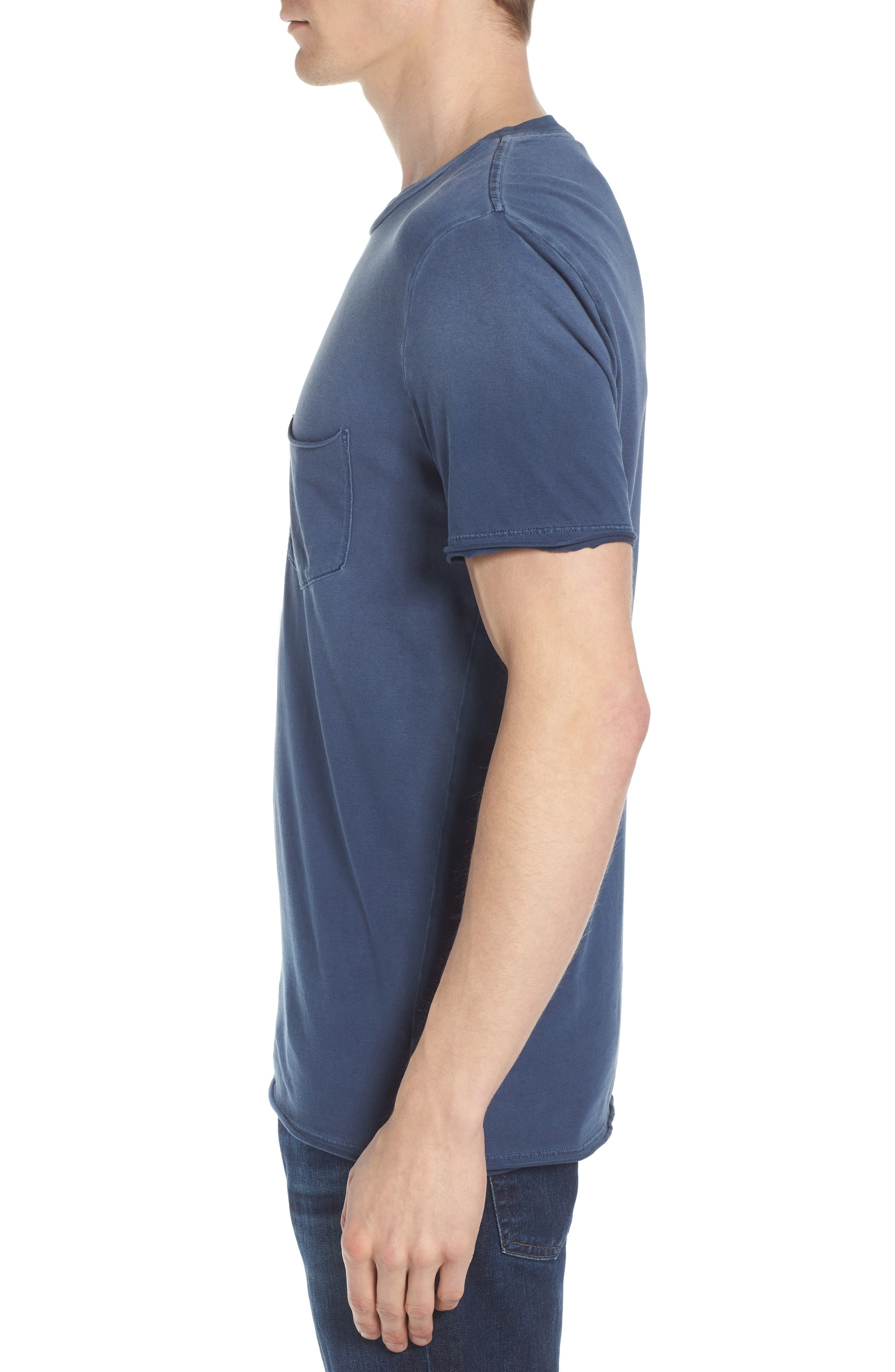 Anders Slim Fit Pocket T-Shirt,                             Alternate thumbnail 3, color,                             Sun Faded Blue Plume