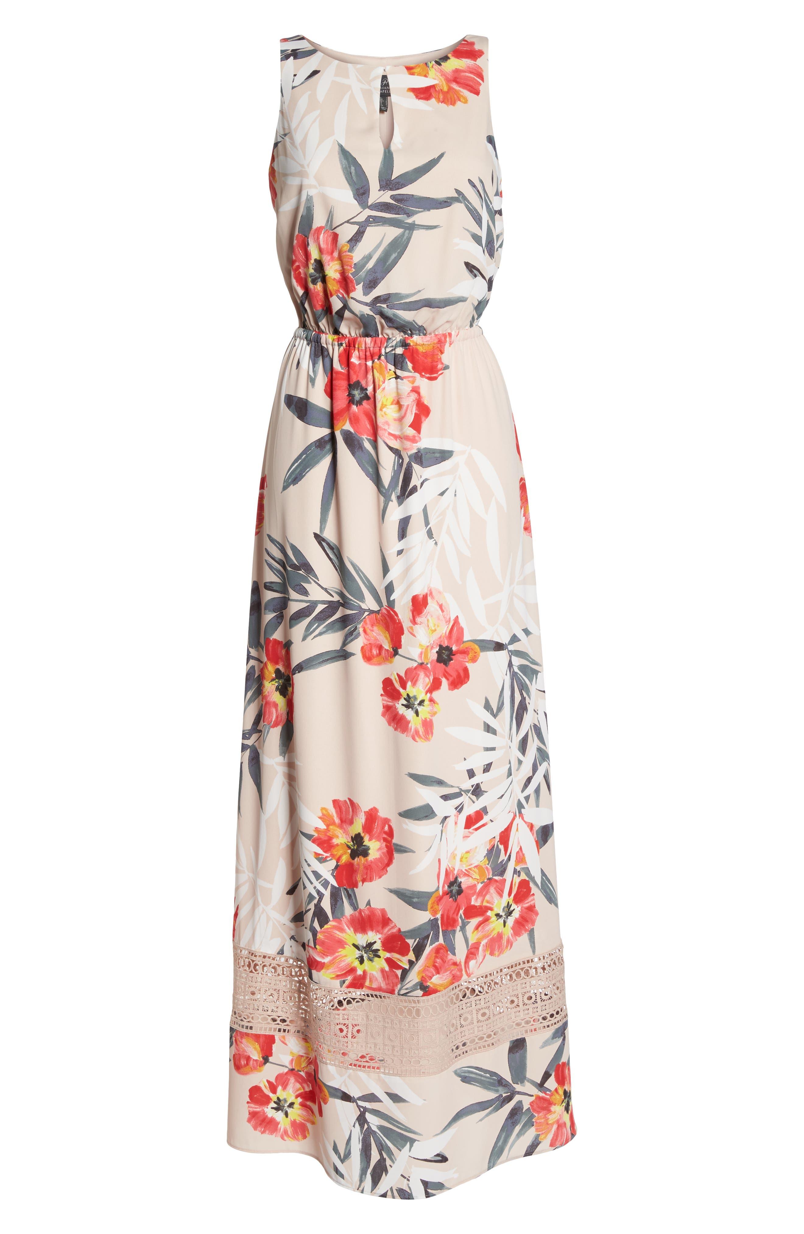 Tropical Breeze Print Maxi Dress,                             Alternate thumbnail 7, color,                             Geranium Multi