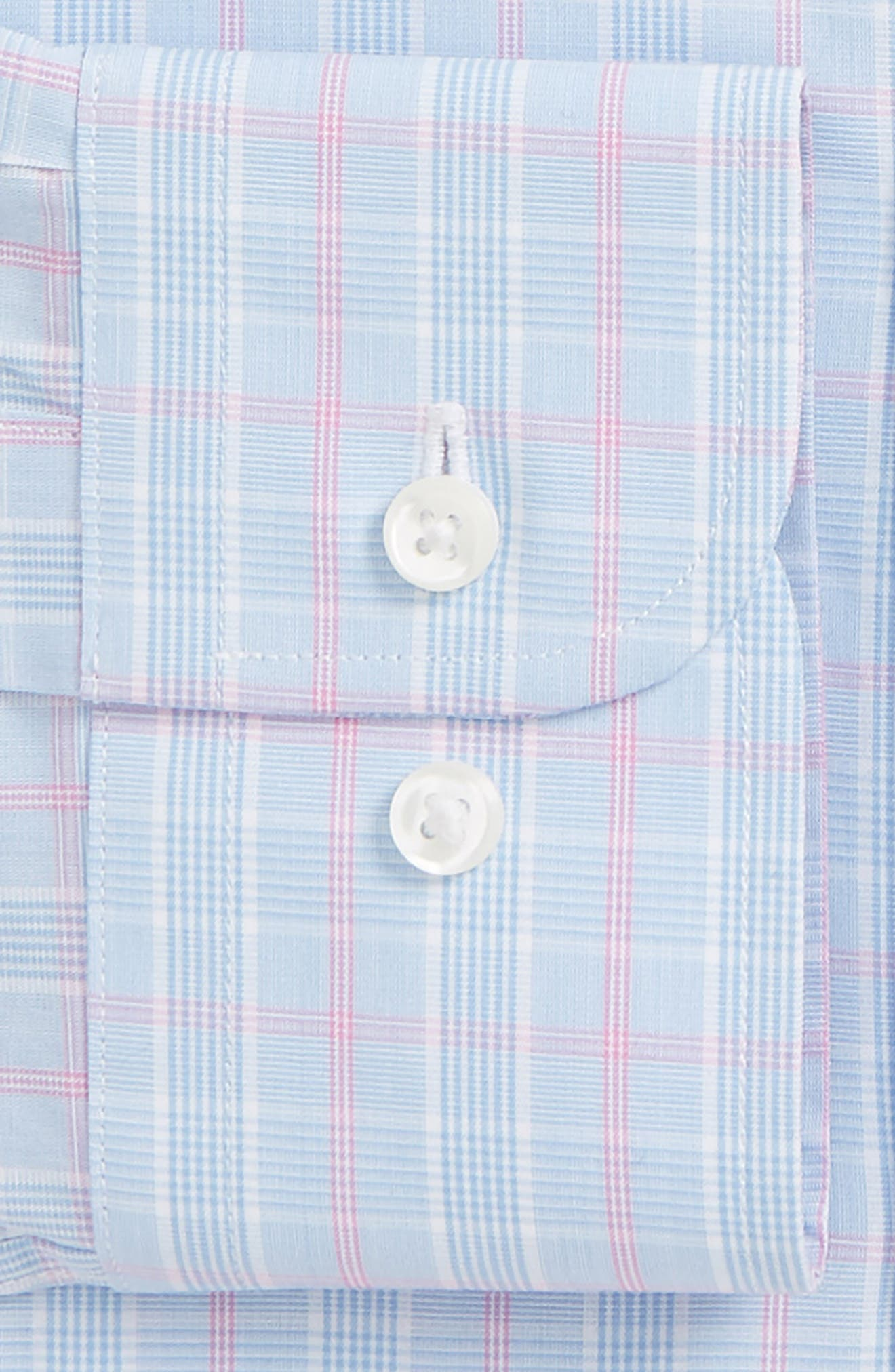 Traditional Fit Plaid Dress Shirt,                             Alternate thumbnail 5, color,                             Blue Hydrangea