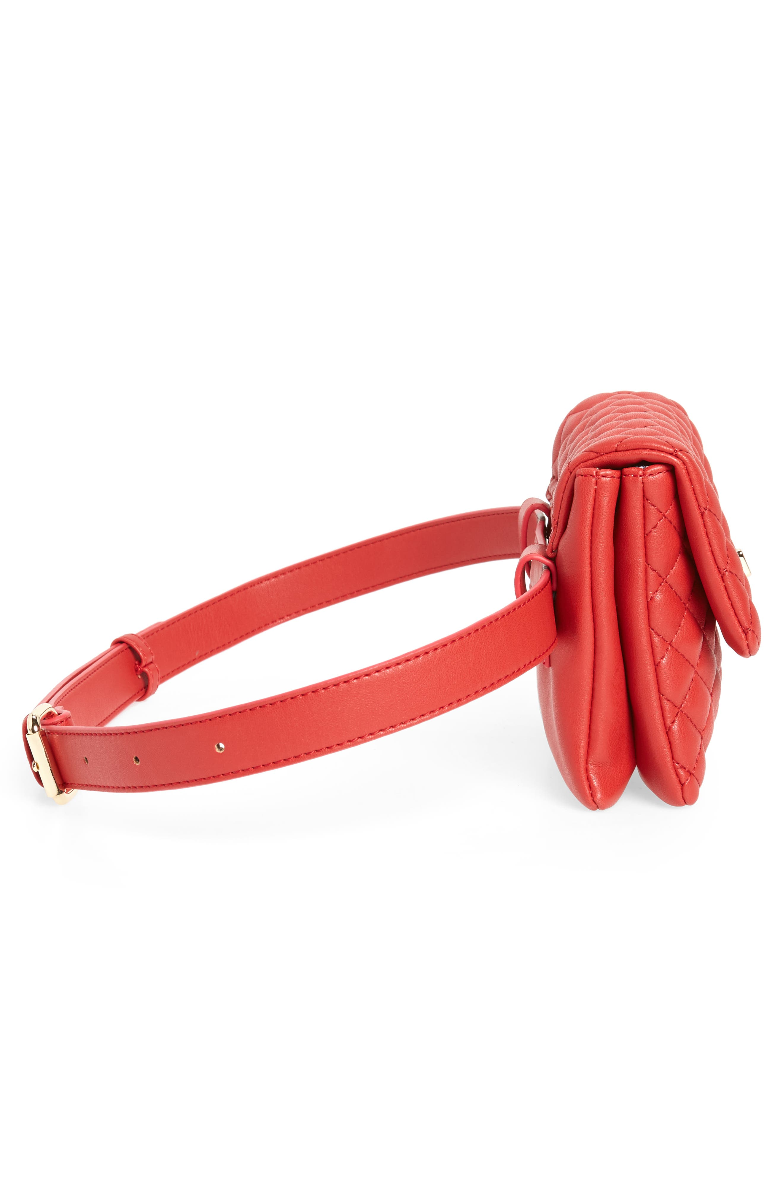 Mali + Lili Quilted Vegan Leather Convertible Belt Bag,                             Alternate thumbnail 8, color,                             Red