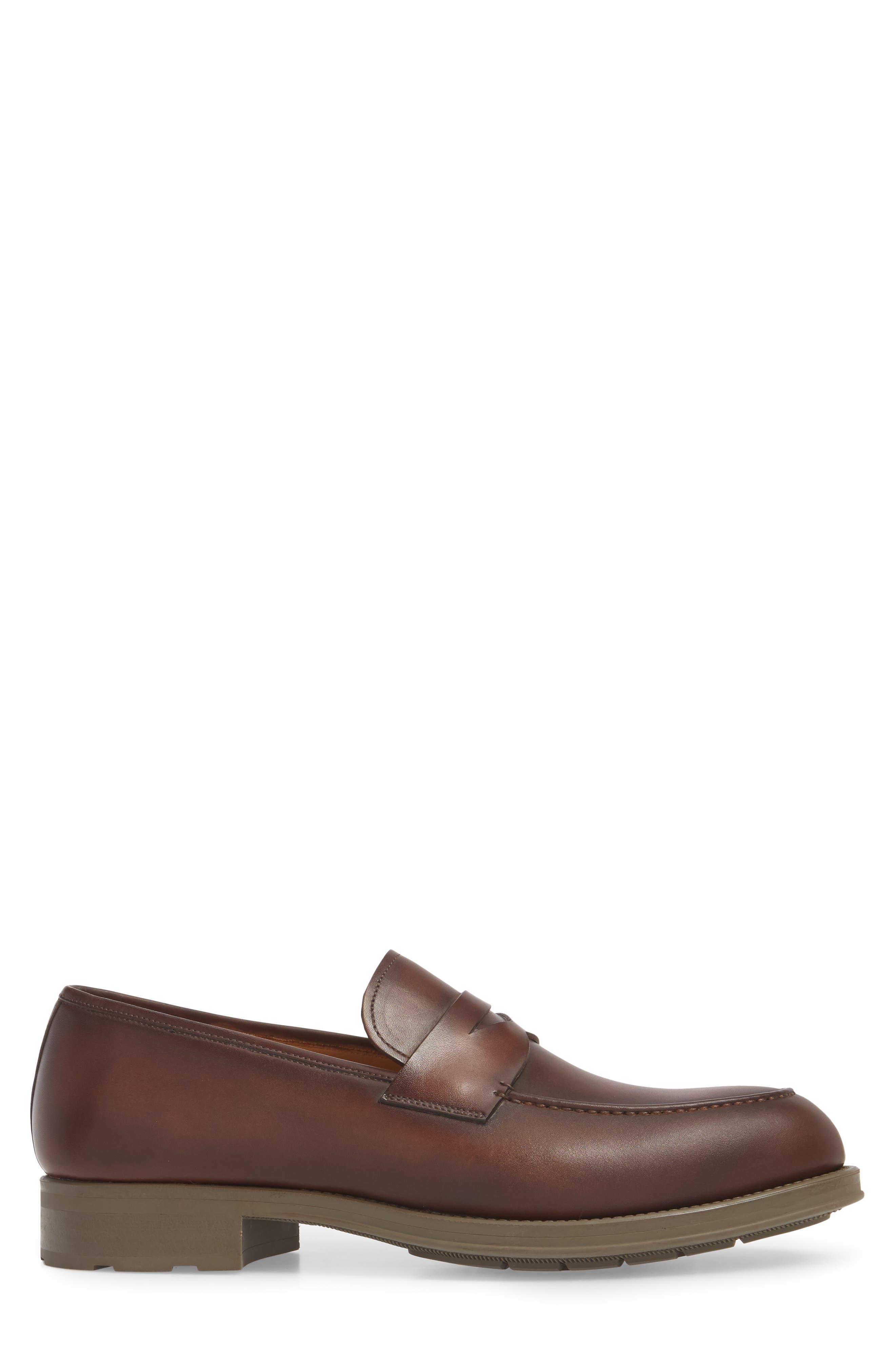 Bernardo Penny Loafer,                             Alternate thumbnail 3, color,                             Brown Leather