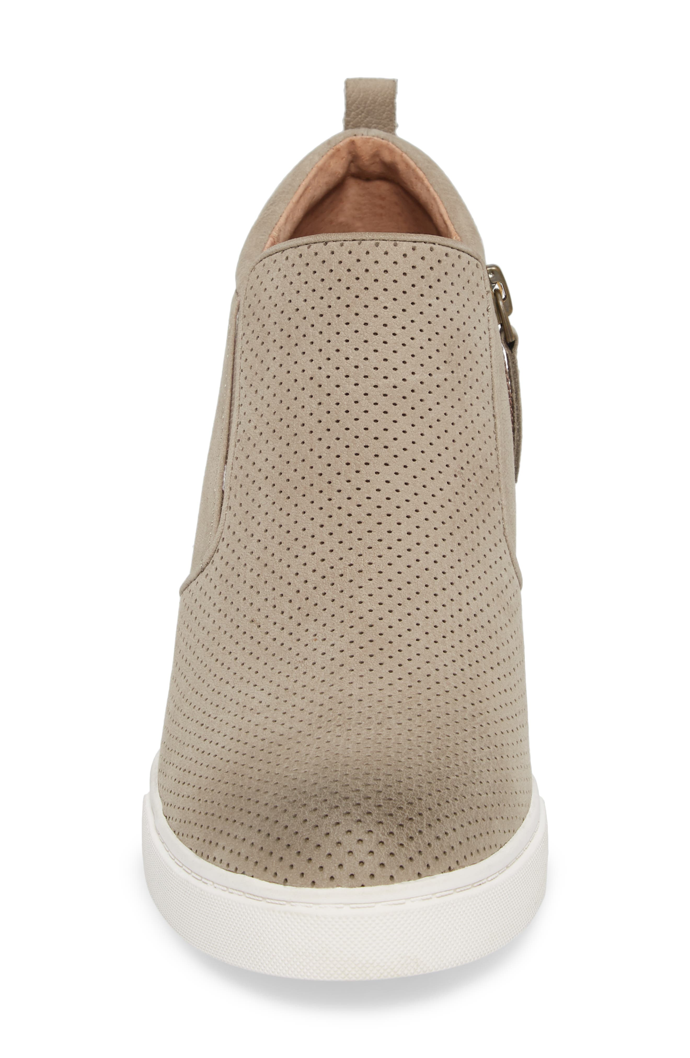 Aiden Wedge Sneaker,                             Alternate thumbnail 4, color,                             Taupe Perforated Leather