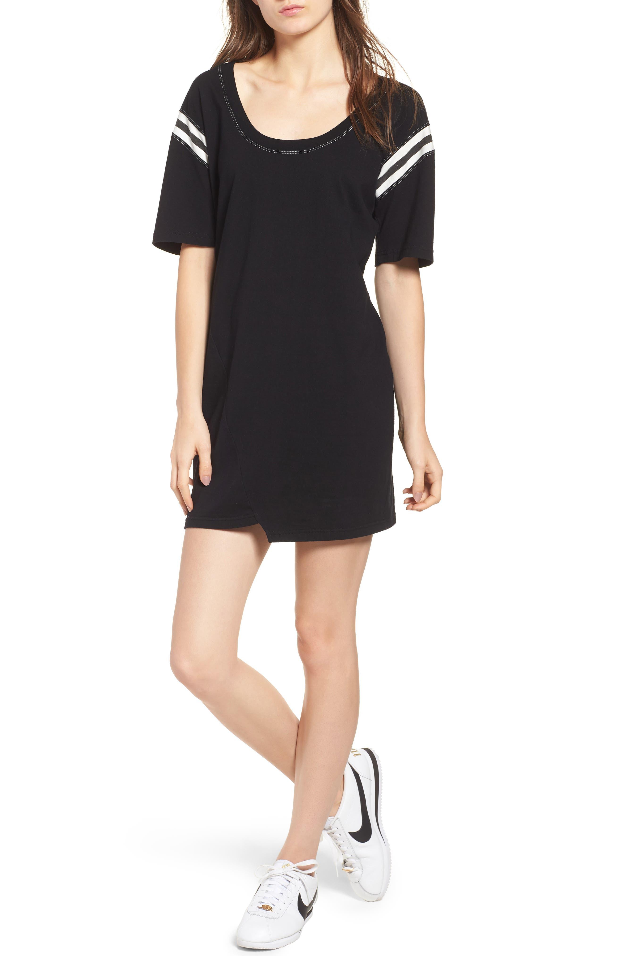 Football Stripe Dress,                             Main thumbnail 1, color,                             Black