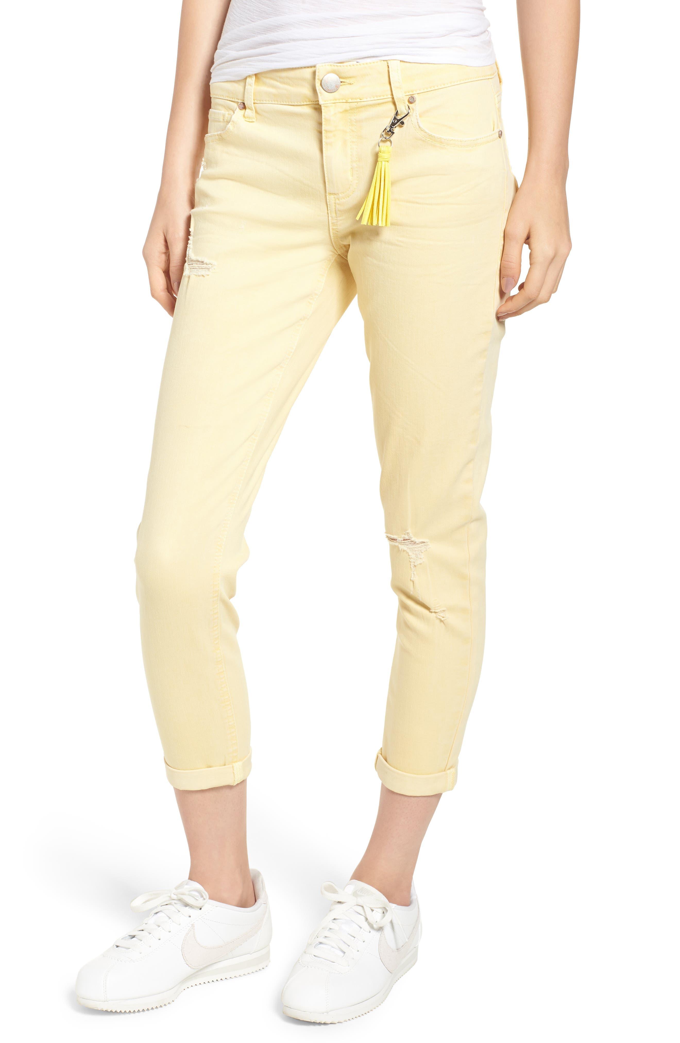 Tinsel Distressed Roll Cuff Skinny Jeans