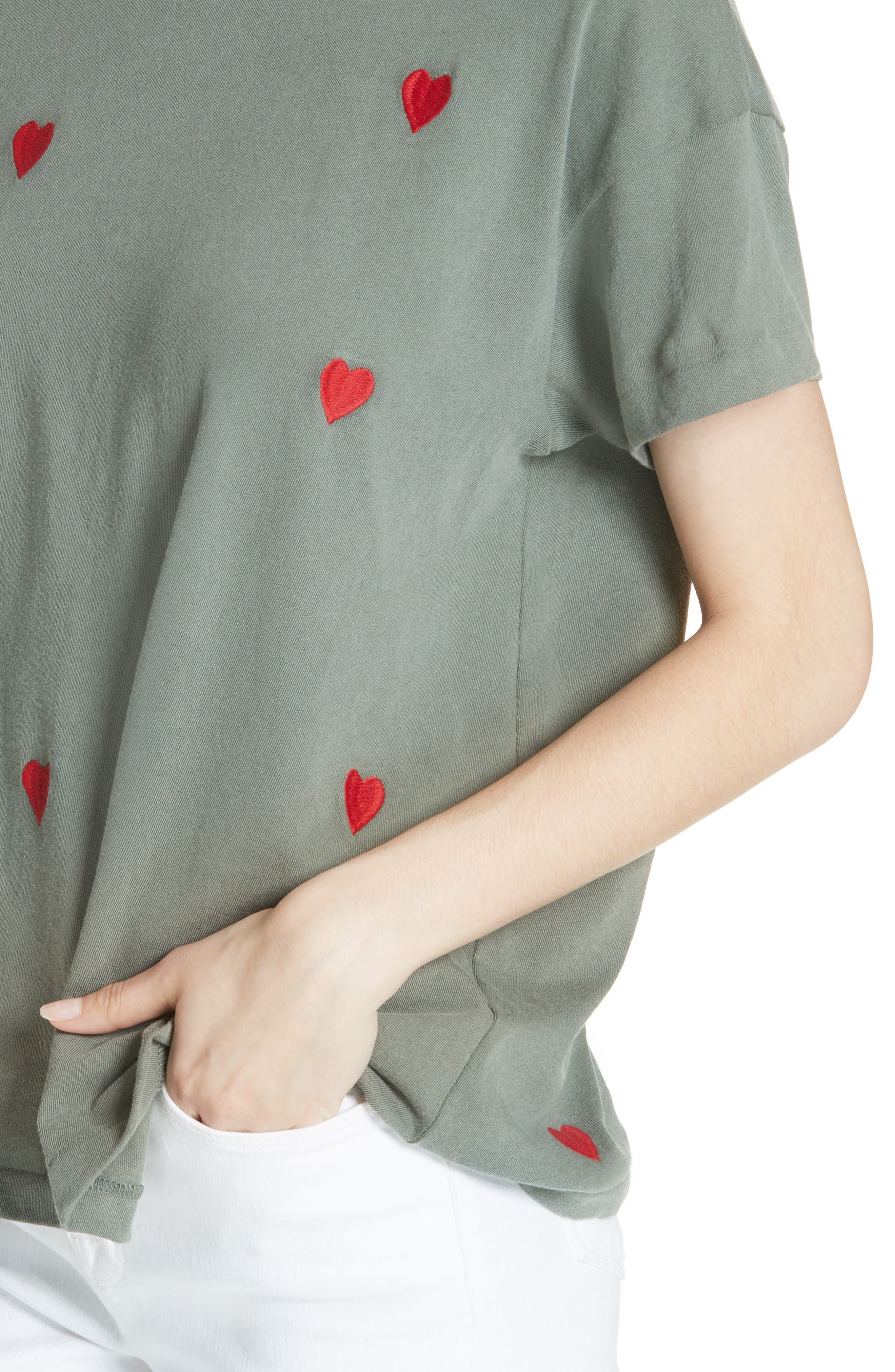 The Embroidered Boxy Crew Tee,                             Alternate thumbnail 4, color,                             Moss Army/ Red Hearts